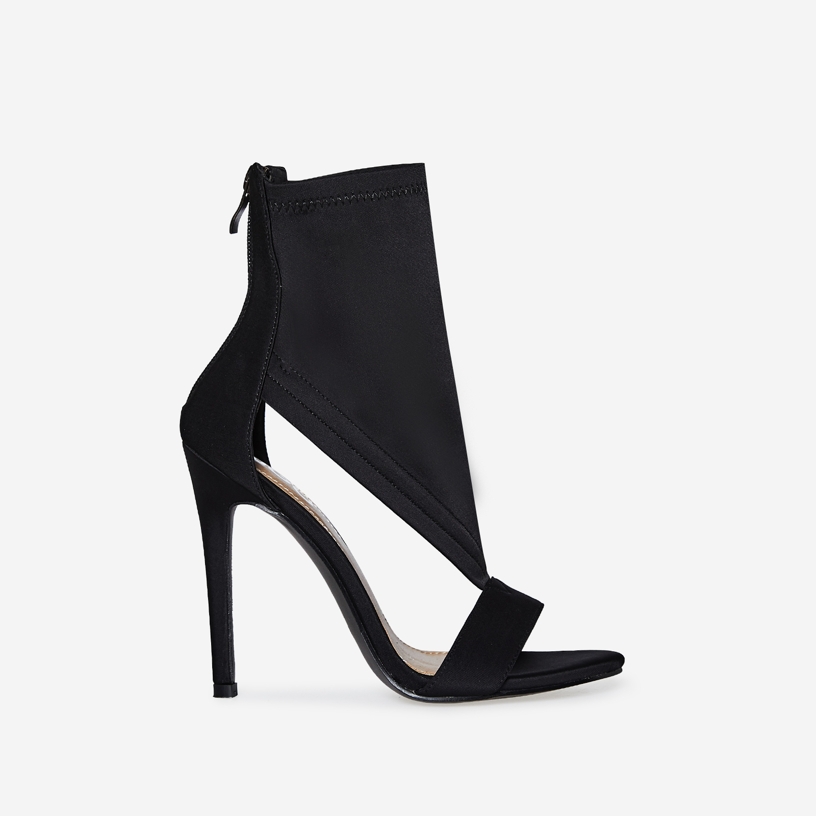 Yuri Cutout Peep Toe Heel In Black Lycra