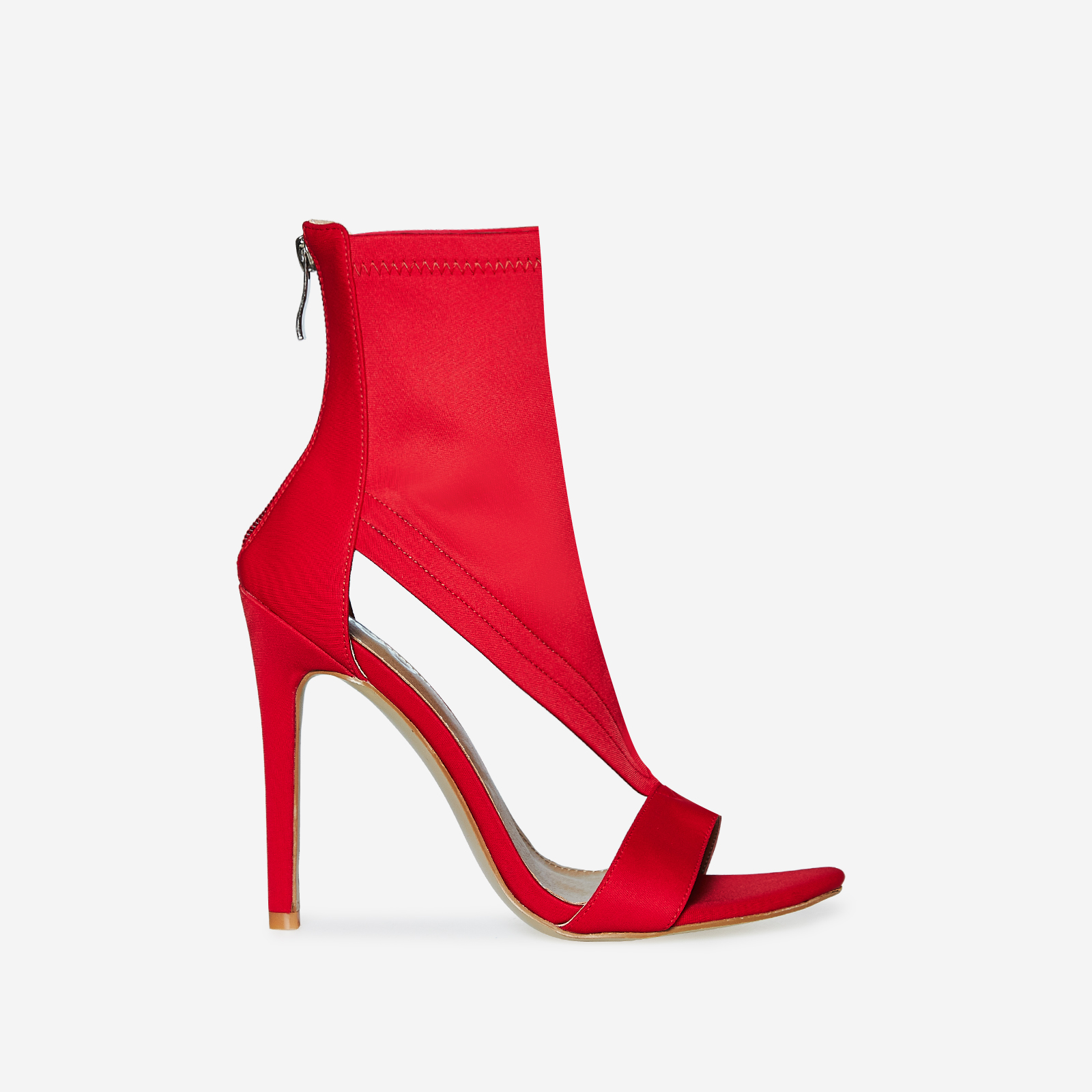 Yuri Cutout Peep Toe Heel In Red Lycra
