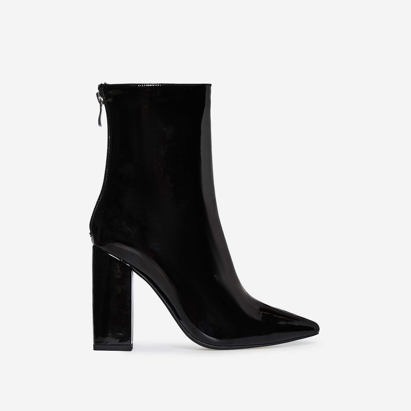 Everly Block Heel Ankle Boot In Black Patent