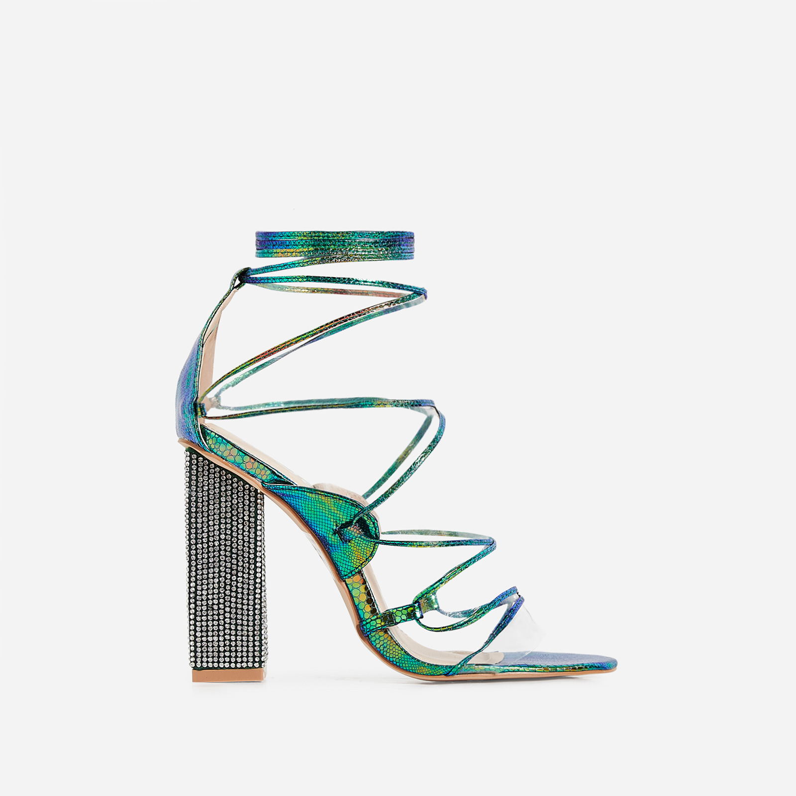 Exotic Perspex Lace Up Diamante Block Heel In Green Snake Print Faux Leather