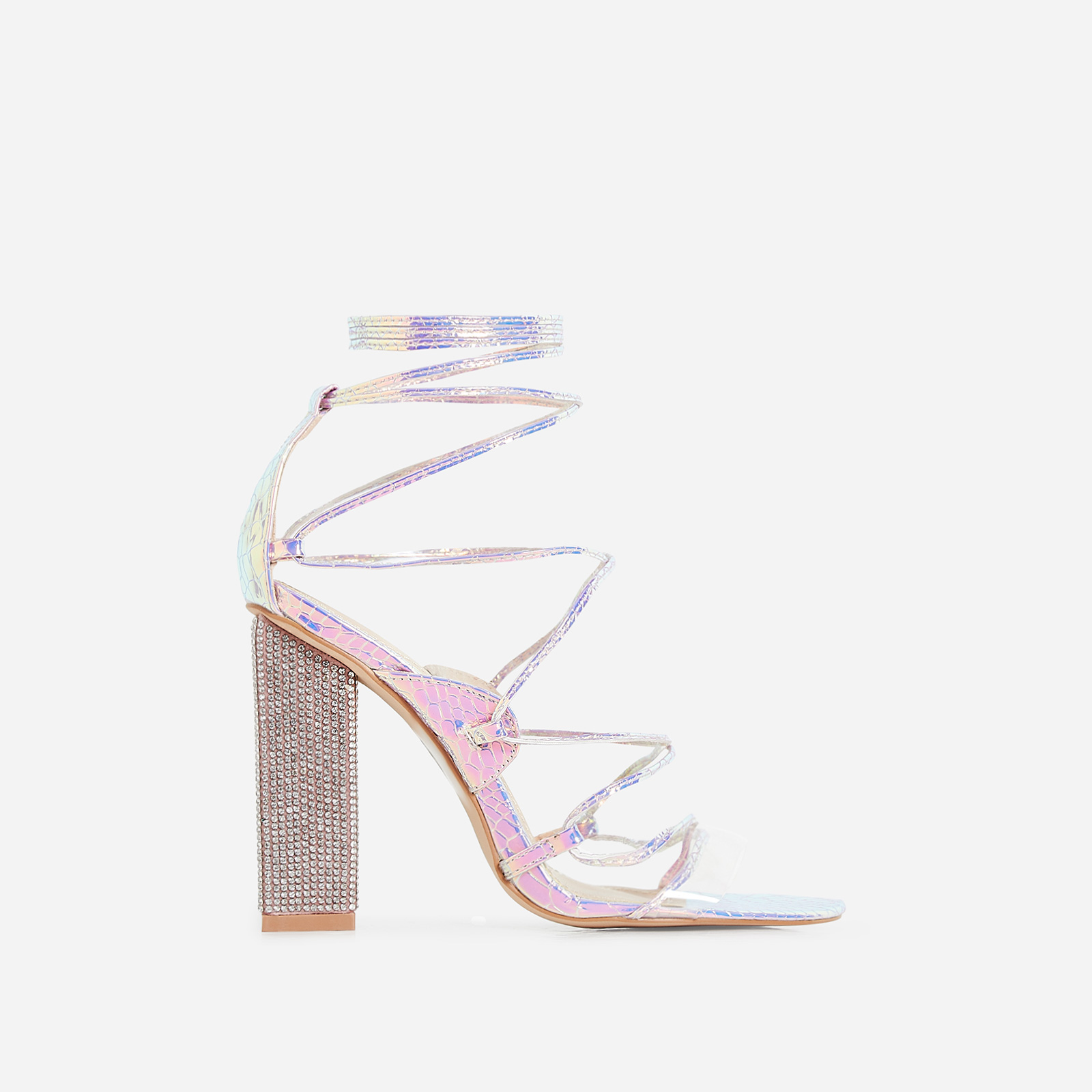 Exotic Perspex Lace Up Diamante Block Heel In Silver Snake Print Faux Leather