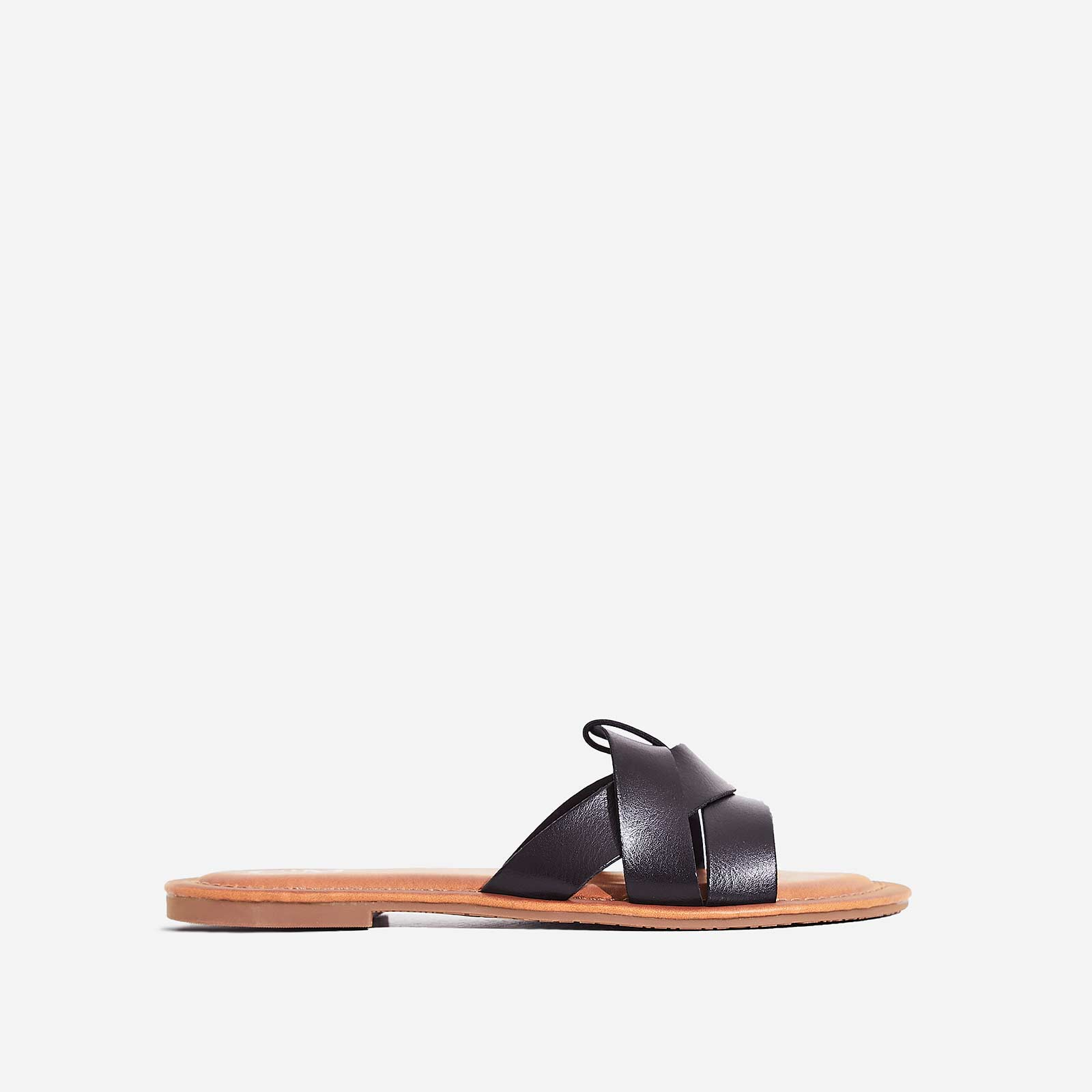 Billie Flat Sandal In Black Faux Leather