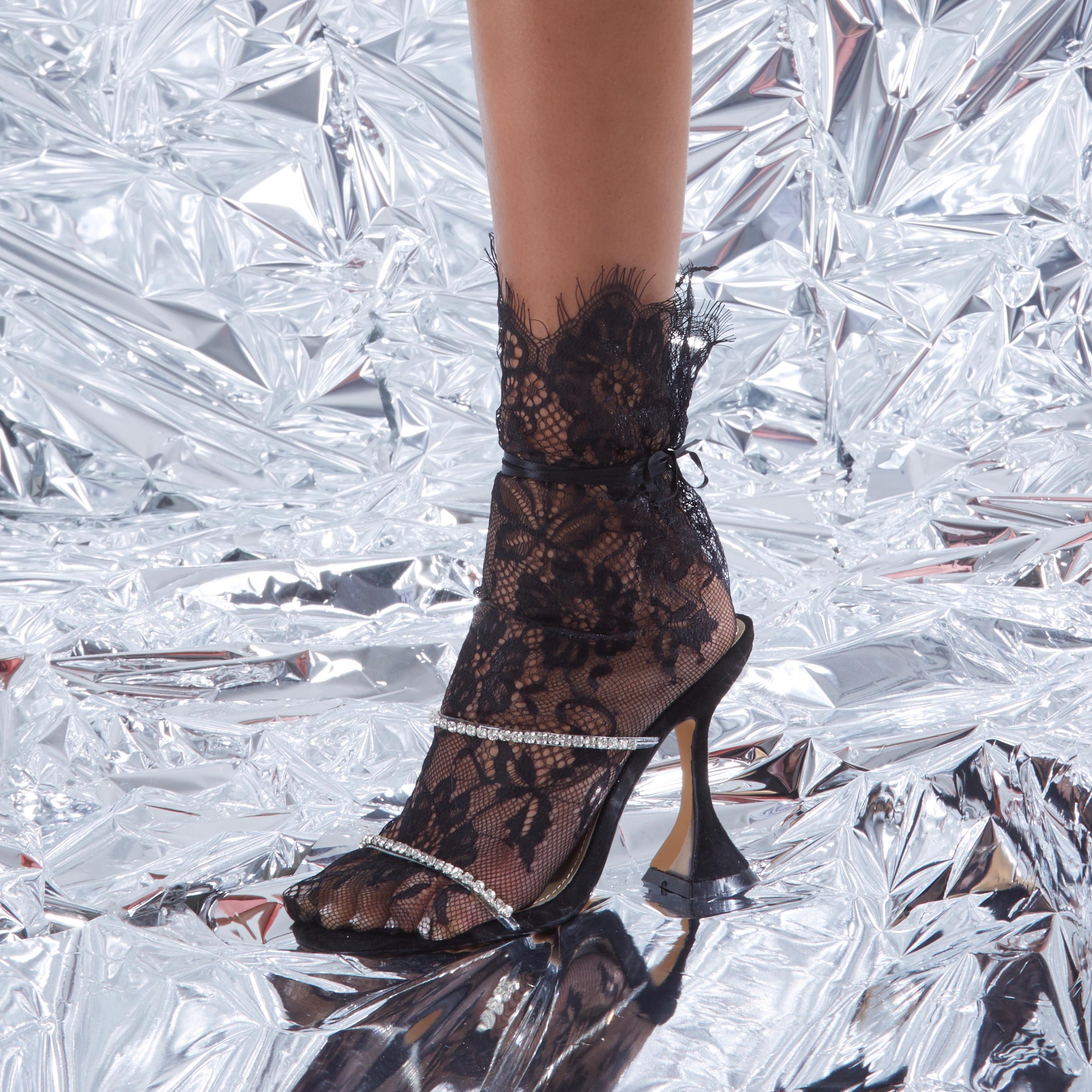 Dreams Diamante Detail Pyramid Heel Mule In Black Faux Suede