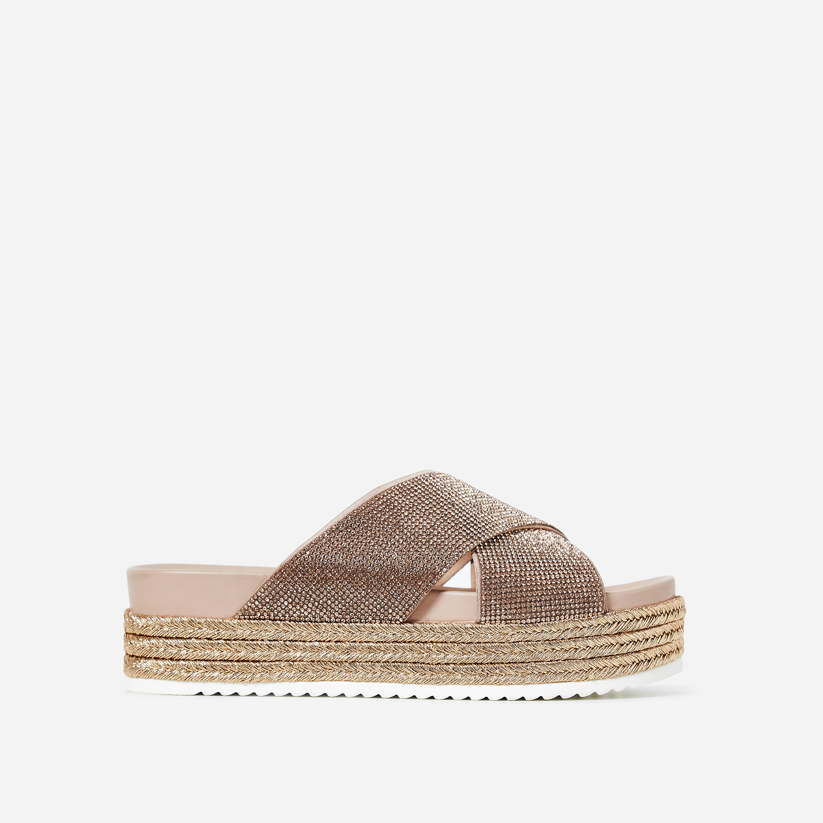 Alva Diamante Flatform Espadrille Slider In Rose Gold Faux Leather