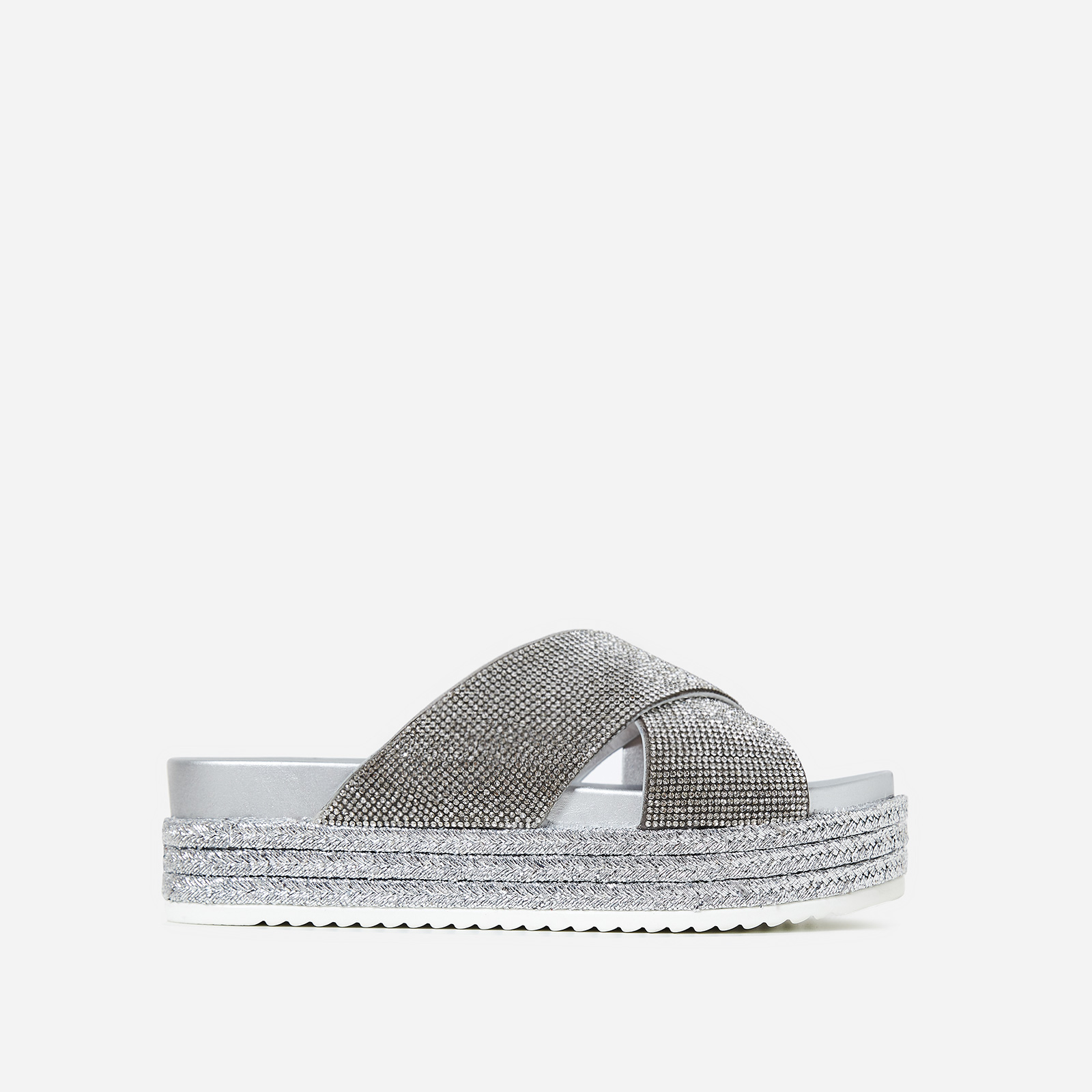 Alva Diamante Flatform Espadrille Slider In Silver Faux Leather