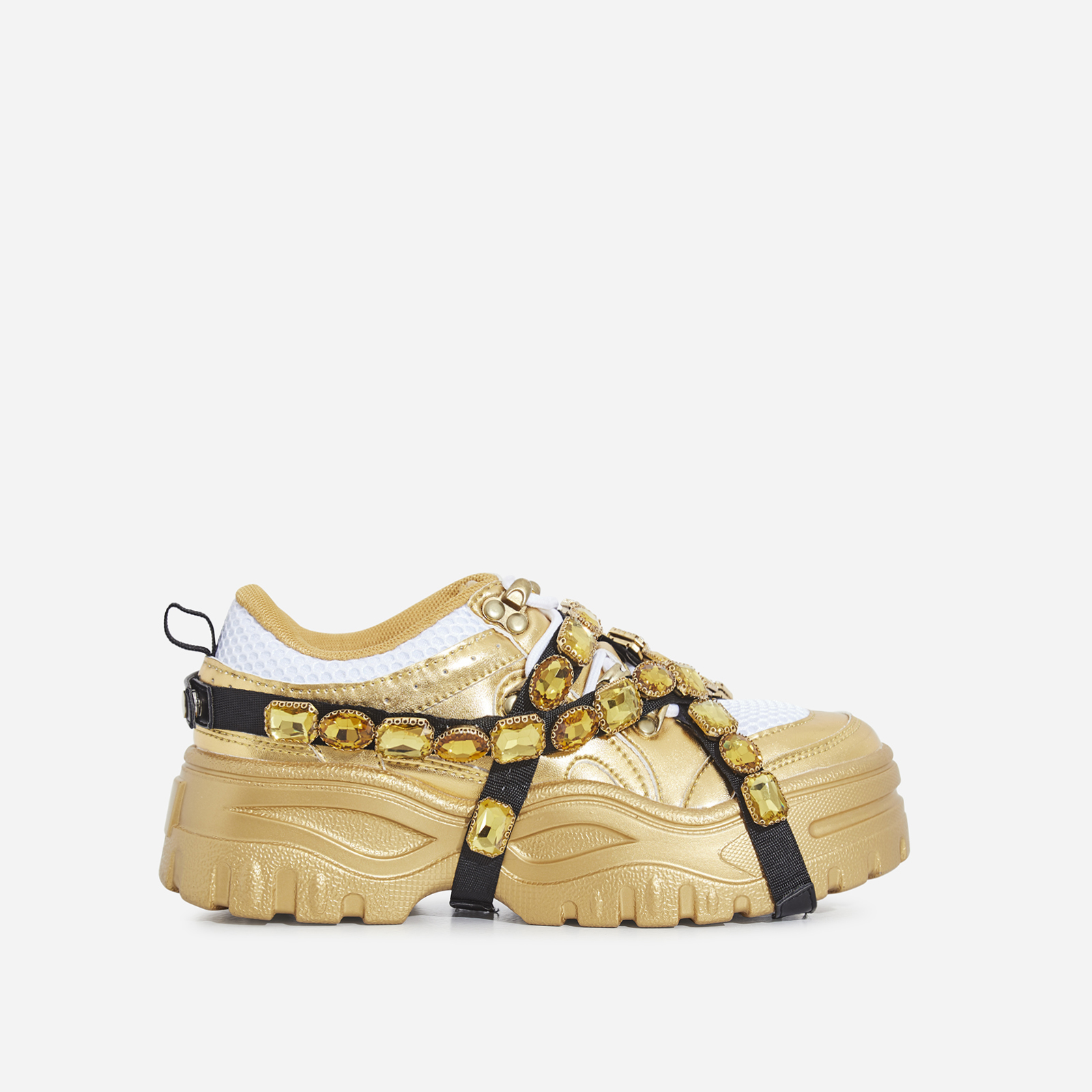 Fever Gem Embellished Sneaker In Gold Faux Leather