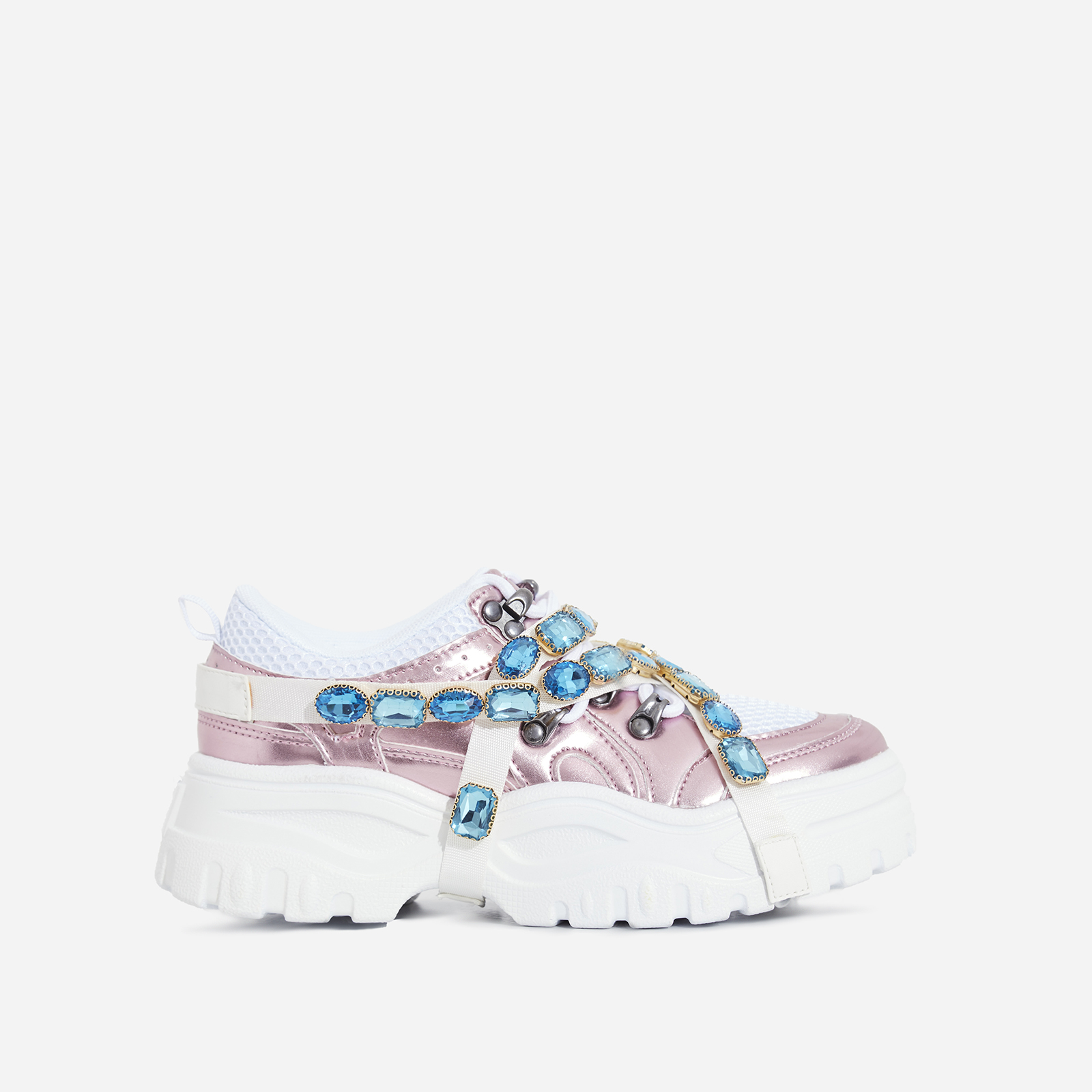 Fever Gem Embellished Trainers In Metallic Pink Faux Leather