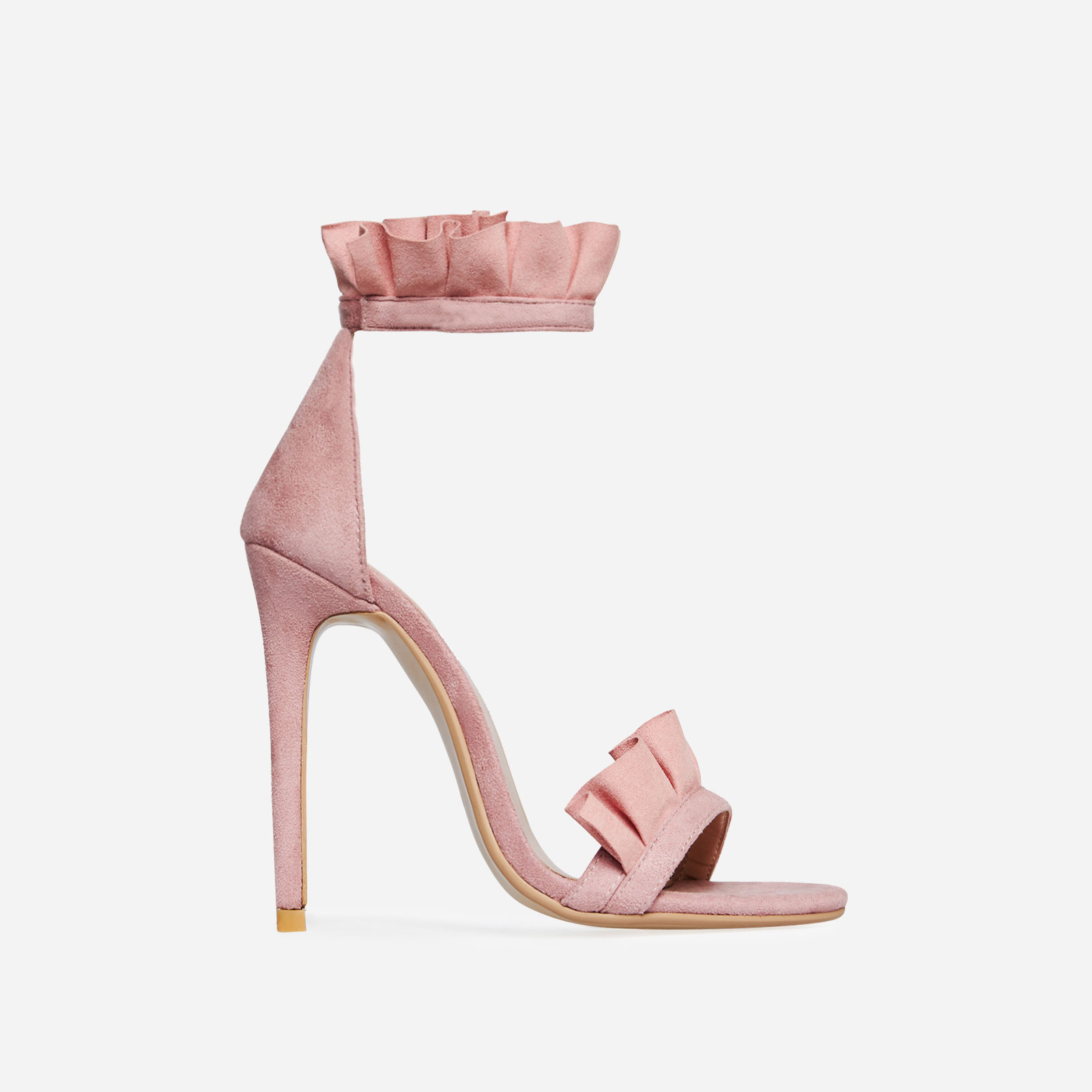 Florence Frill Detail Heel In Blush Faux Suede Image 1