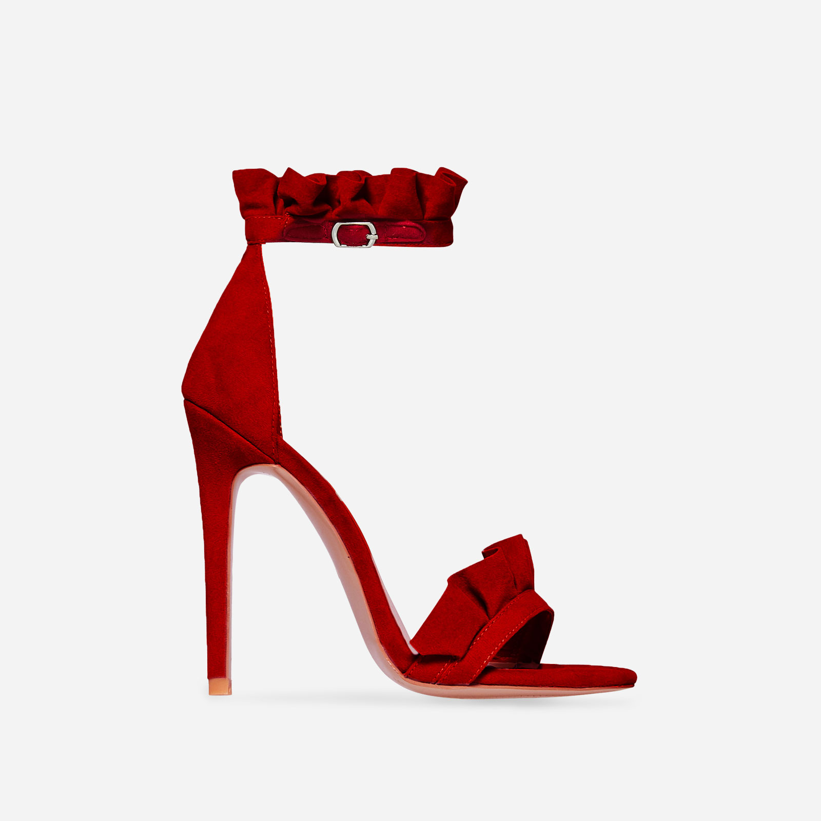 Florence Frill Detail Heel In Red Faux Suede