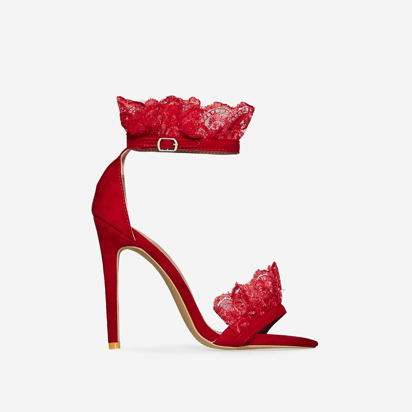 Florence Lace Frill Detail Heel In Red Faux Suede