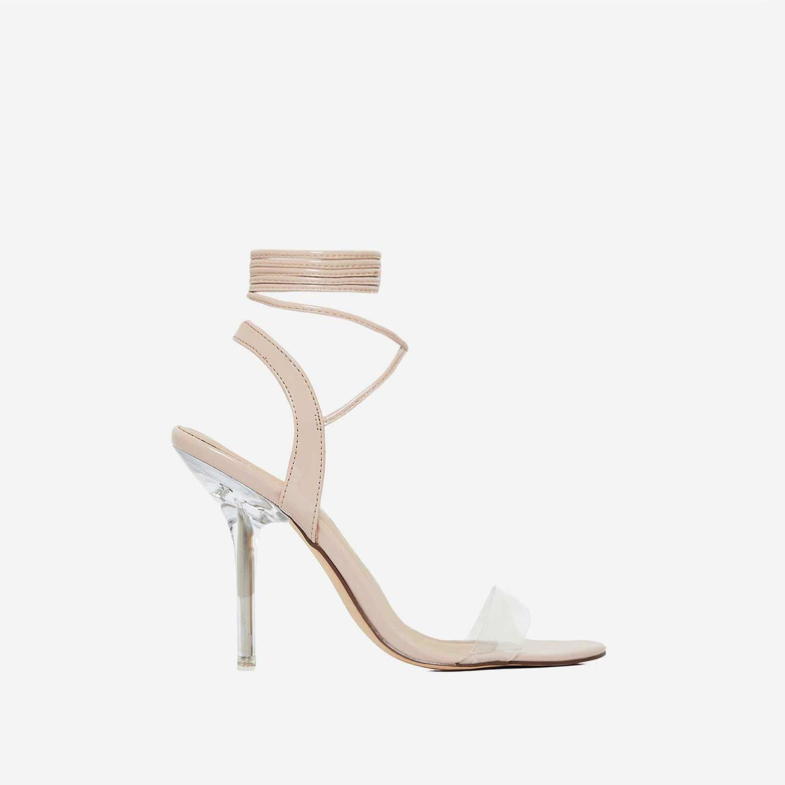 Foxy Lace Up Perspex Heel In Nude Patent