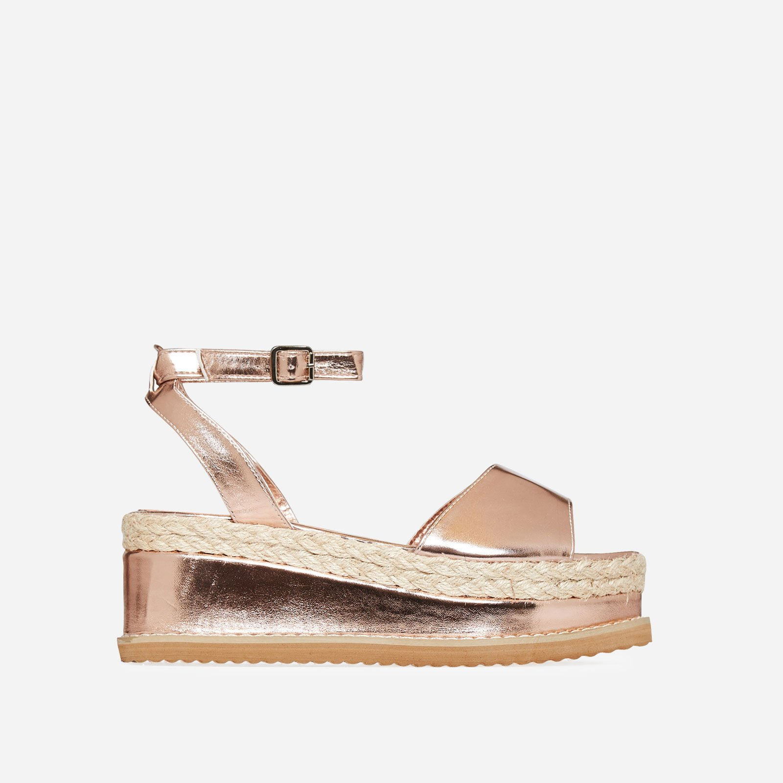 Lucie Espadrille Flatform In Rose Gold Faux Leather