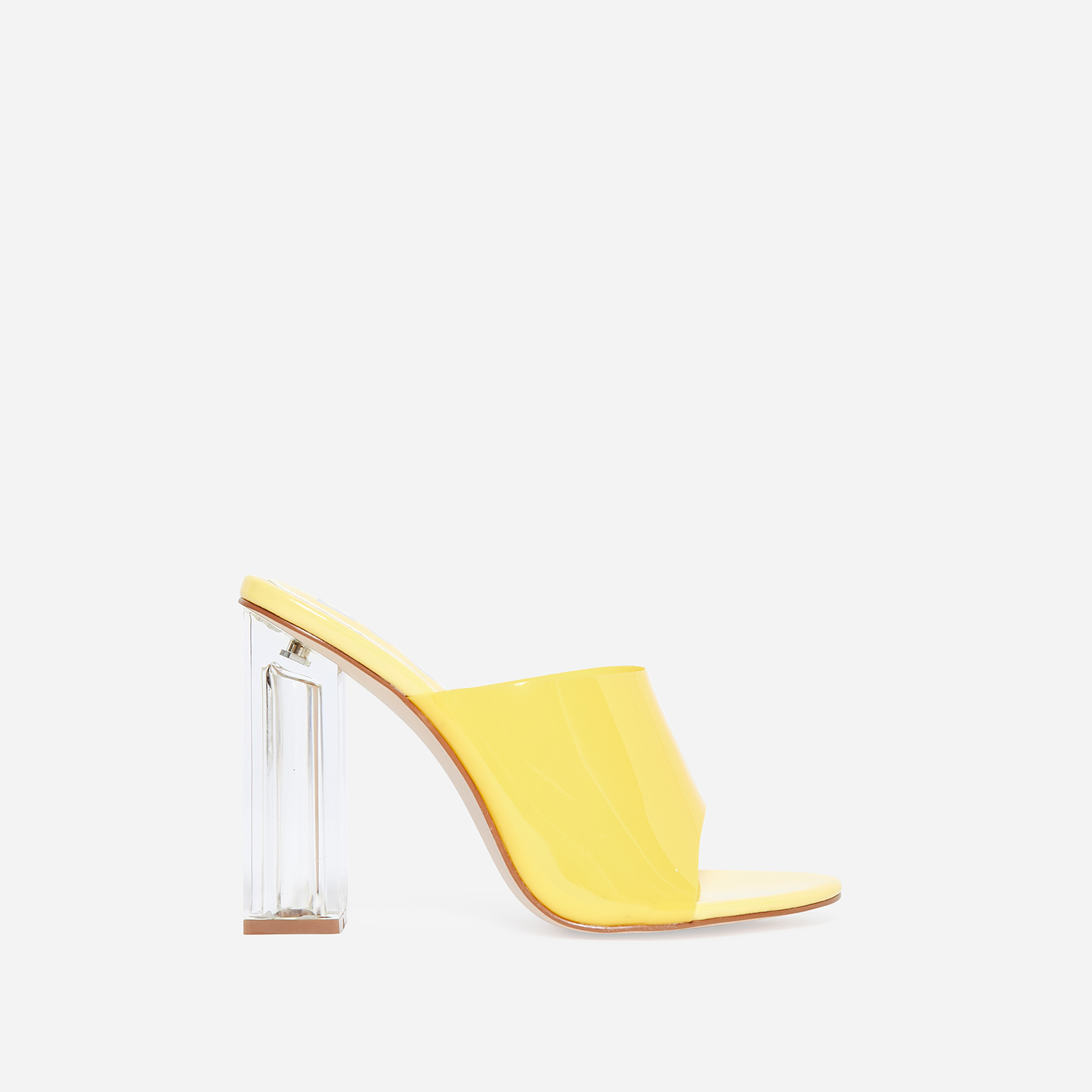 Fusion Perspex Block Heel Peep Toe Mule In Yellow Patent