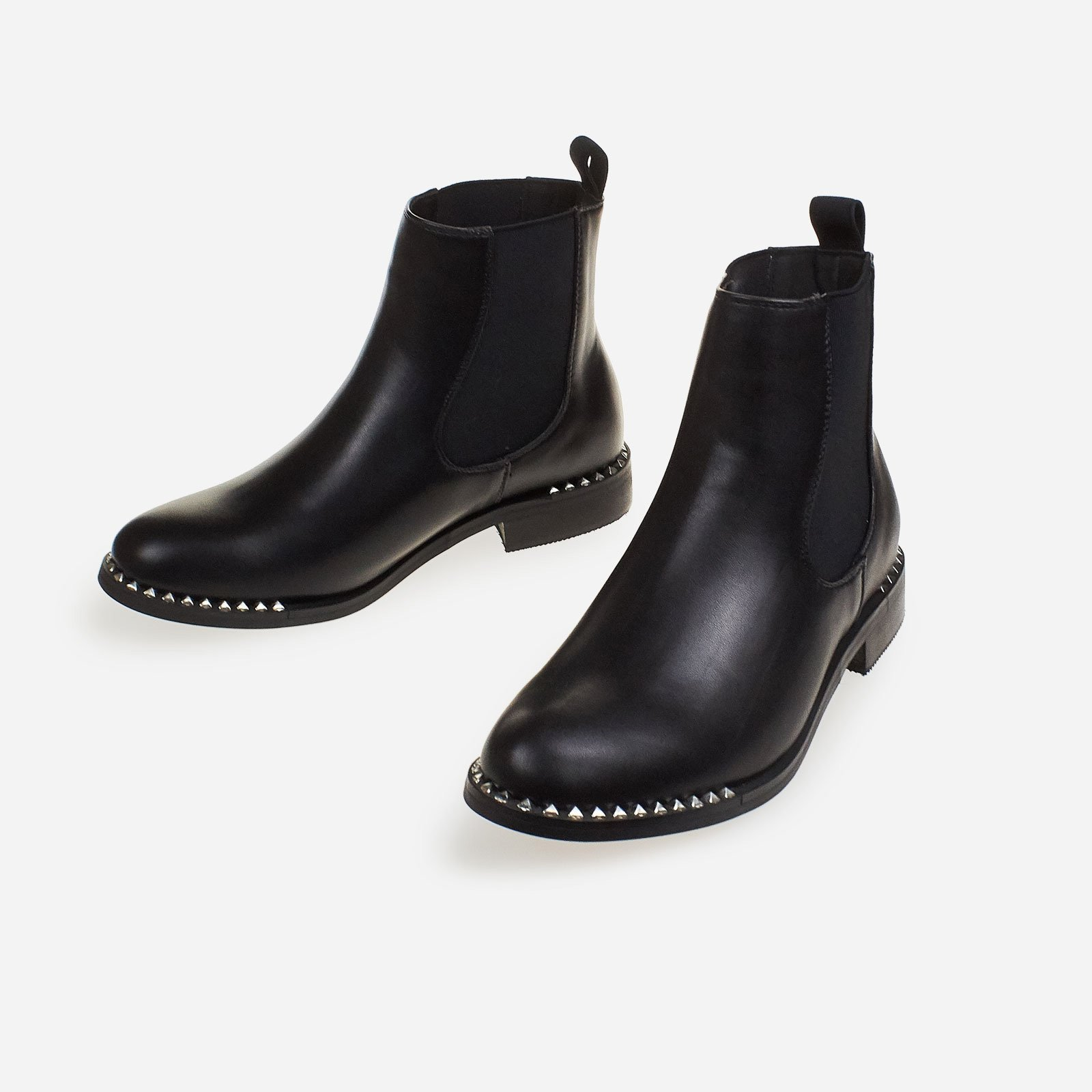Aldo Studded Ankle Chelsea Boot In Black Faux Leather