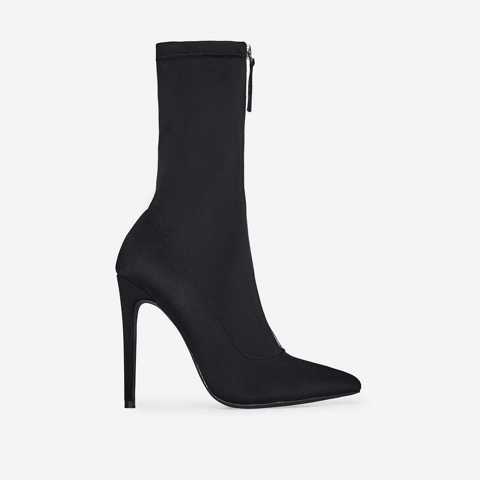 Garda Zip Detail Sock Boot In Black Lycra
