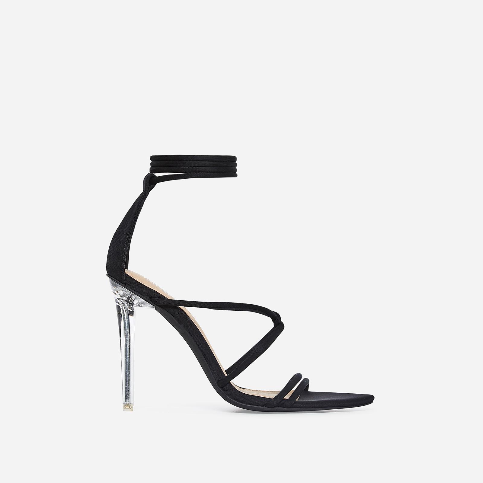 Gemma Lace Up Perspex Heel In Black Lycra