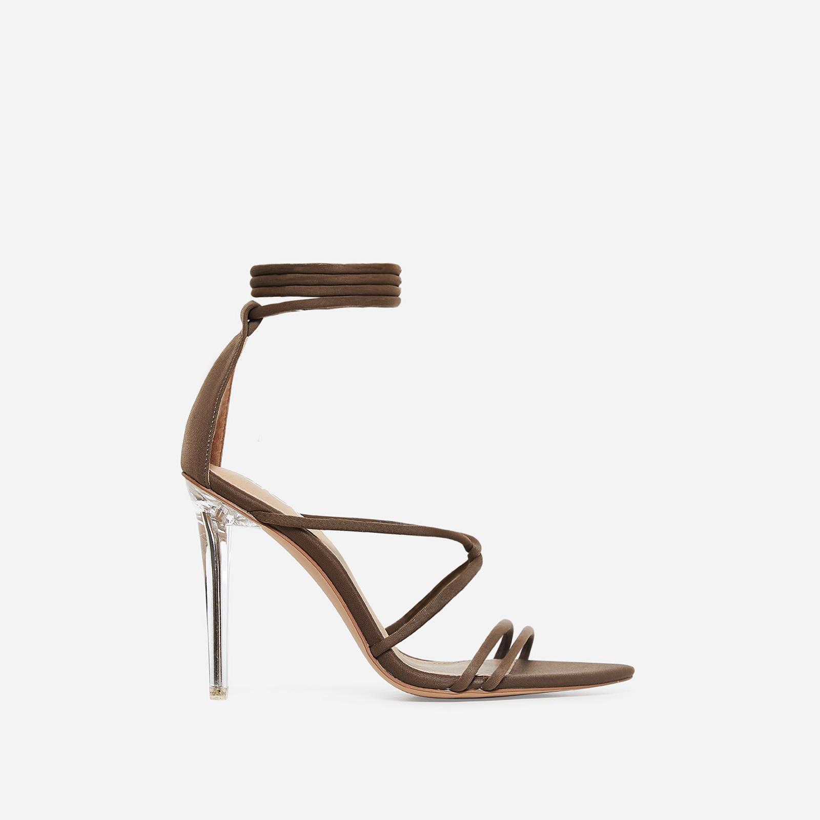 Gemma Lace Up Perspex Heel In Khaki Lycra