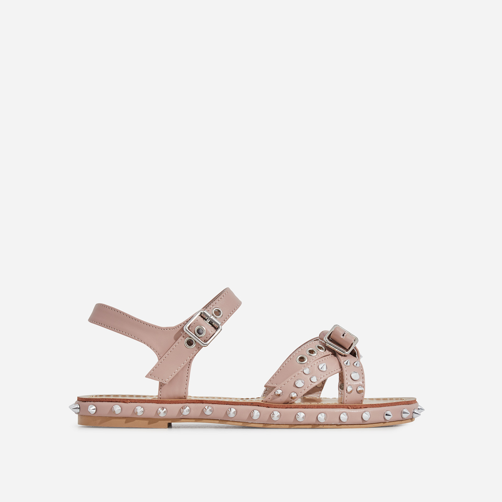 Gerry Studded Detail Sandal In Nude Faux Leather