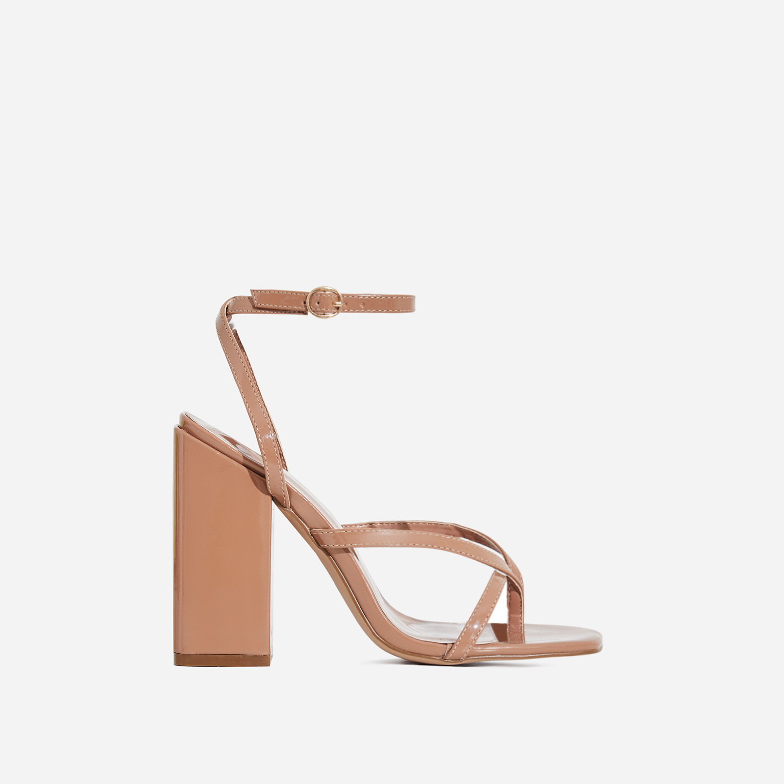 Grace Toe Strap Block Heel In Mocha Patent