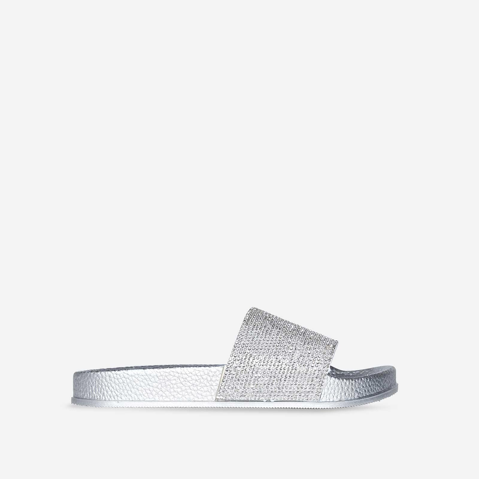Vibe Diamante Slider In White Rubber Image 1