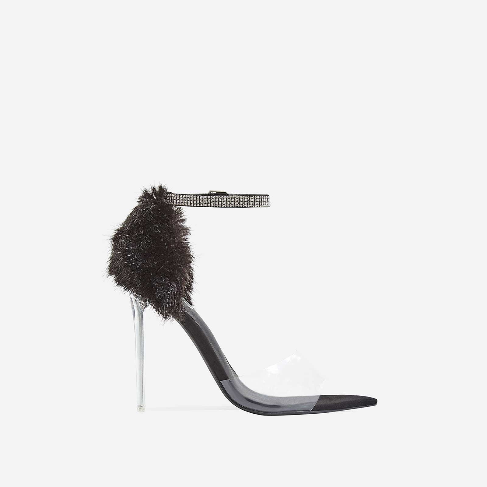 Hadley Diamante Perspex Heel In Black Faux Fur and Faux Suede