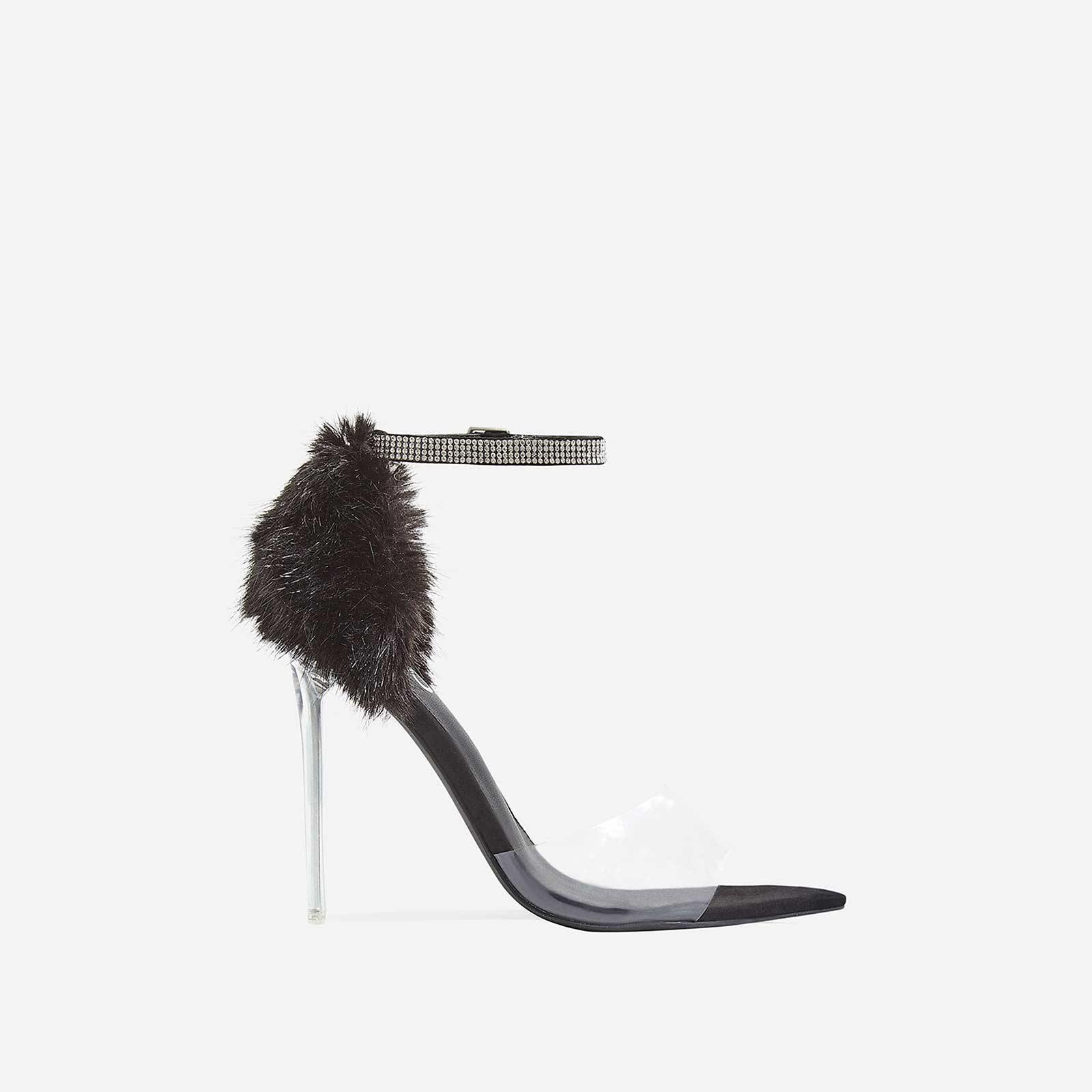 Hadley Diamante Perspex Heel In Black Faux Fur and Faux Suede