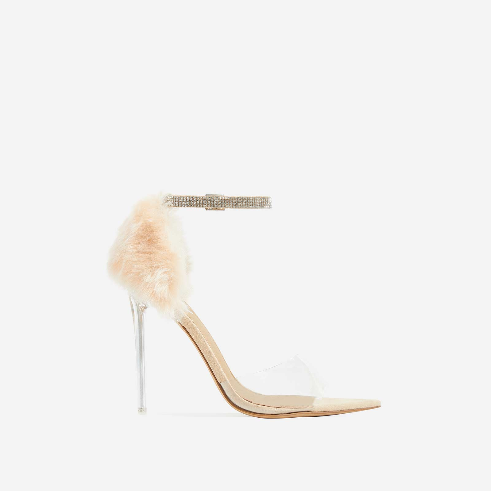 Hadley Diamante Perspex Heel In Nude Faux Fur and Faux Suede