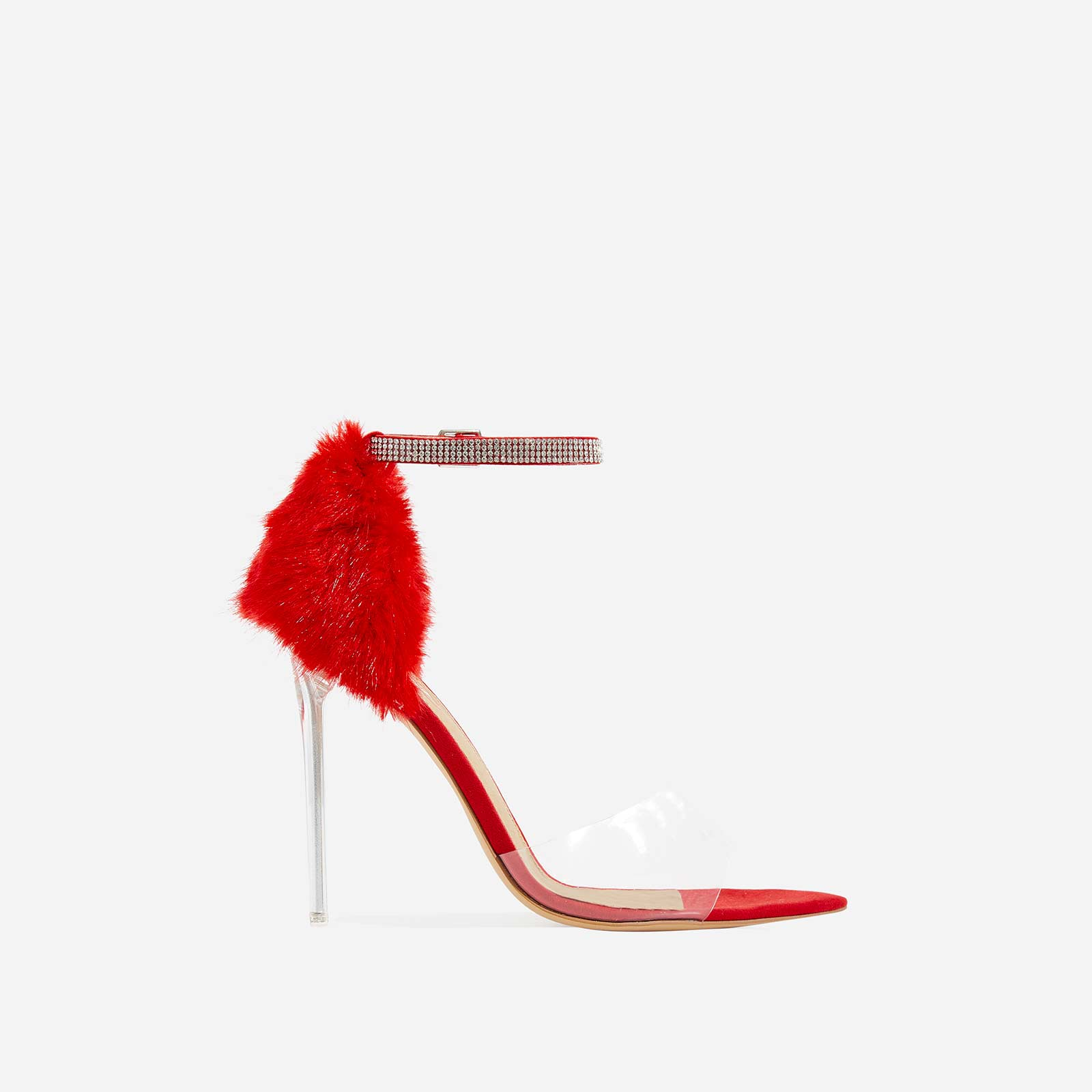 Hadley Diamante Perspex Heel In Red Faux Fur and Faux Suede