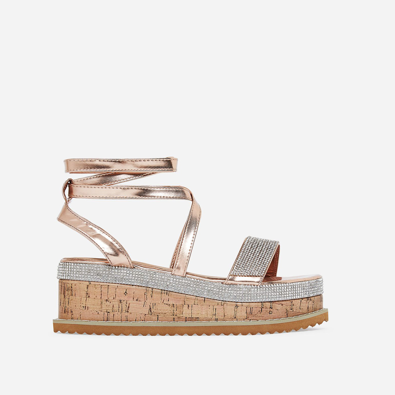 Haim Diamante Detail Espadrille Flatform In Rose Gold Faux Leather