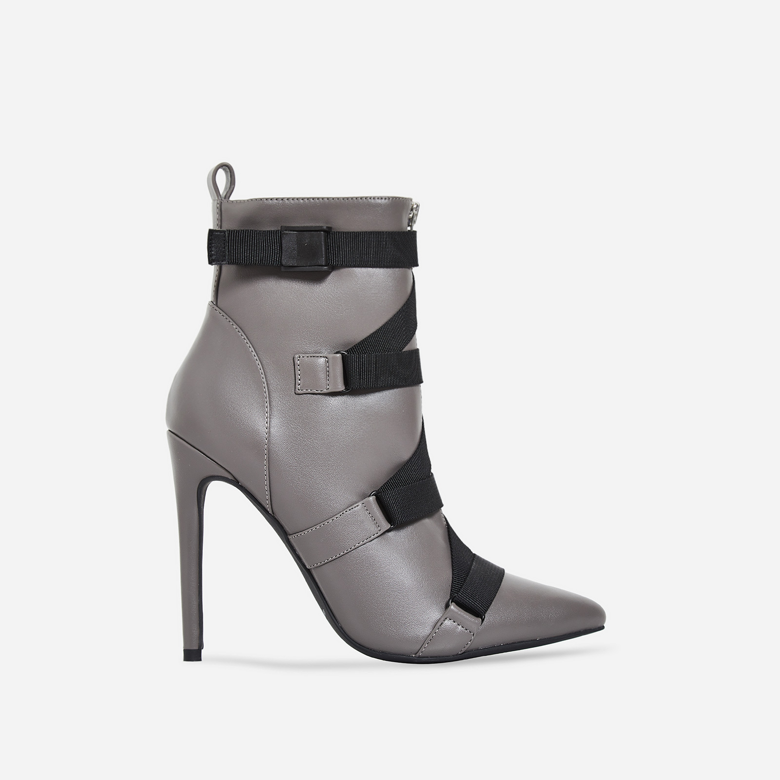 Halle Strap Detail Ankle Boot In Grey Faux Leather