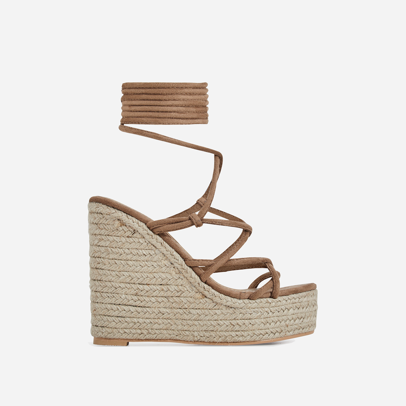 Hanna Platform Lace Up Espadrille Wedge Block Heel In Mocha Faux Suede