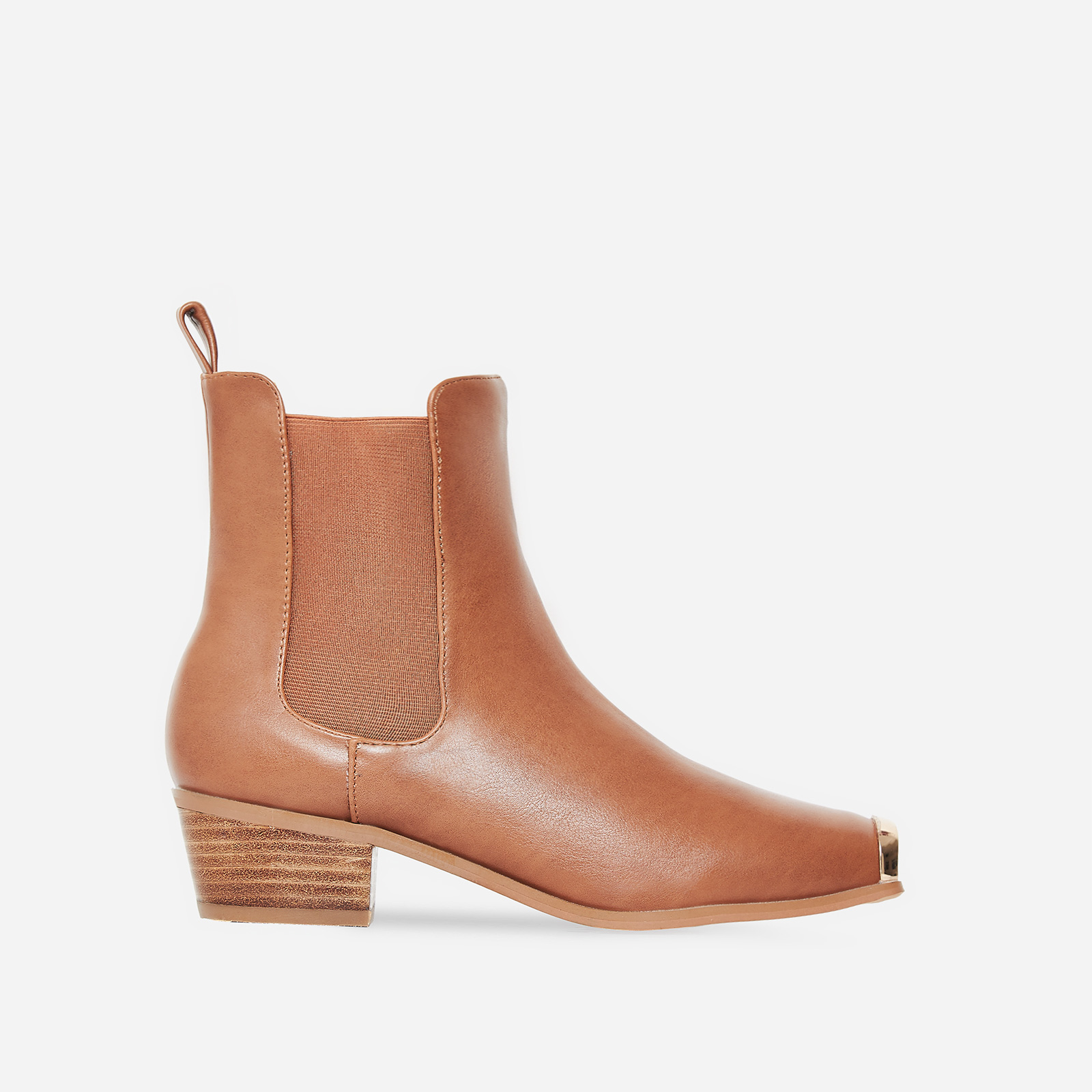 Hauser Toe Cap Western Ankle Boot In Tan Faux Leather