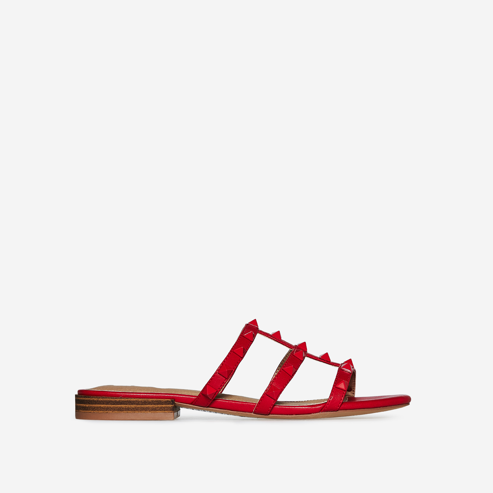 Havana Studded Detail Slider In Red Faux Leather