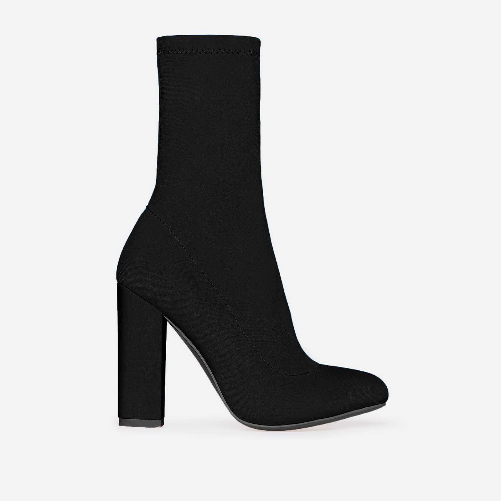 Hayden Block Heel Sock Boot In Black Lycra