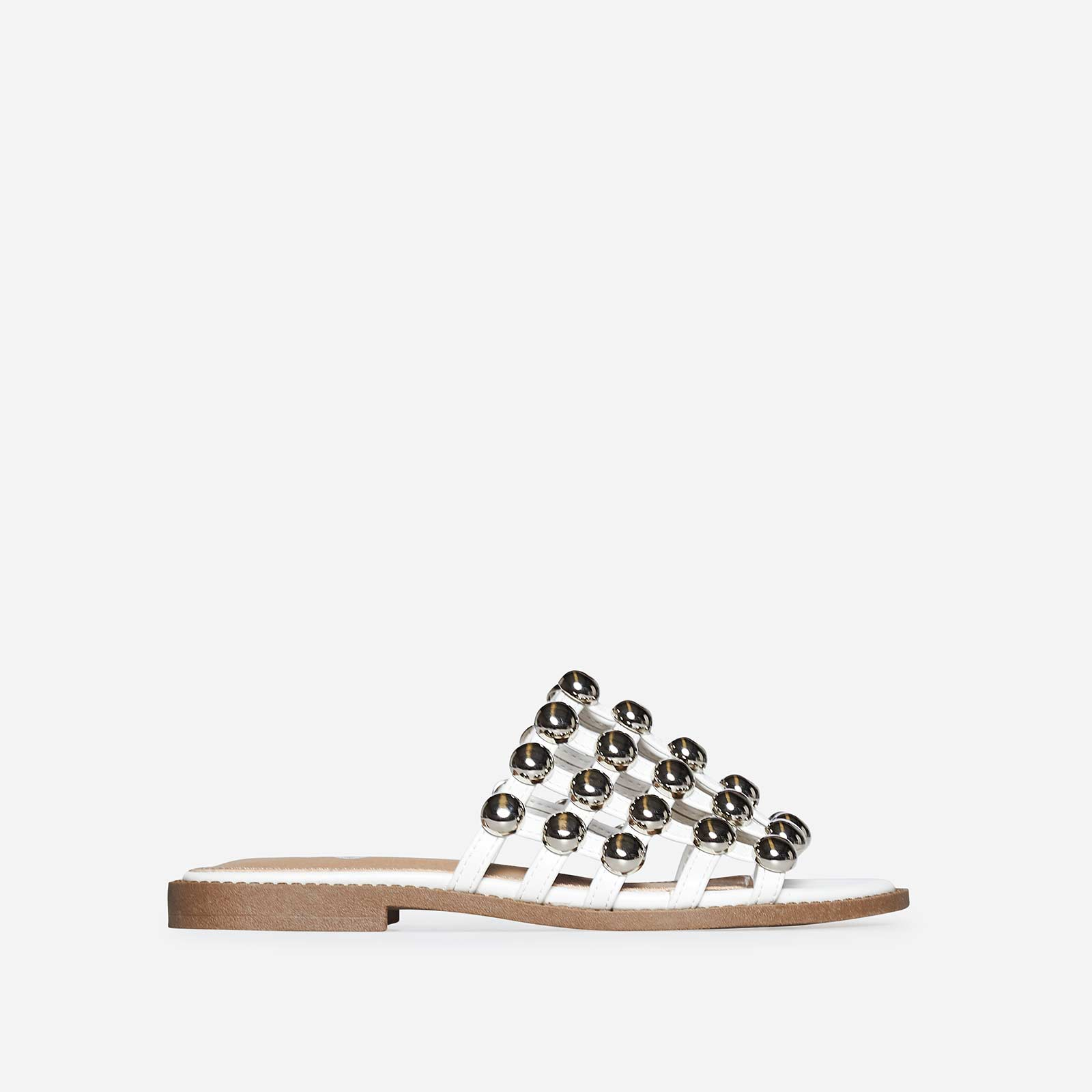 Hazel Silver Studded Detail Slider In White Faux Leather