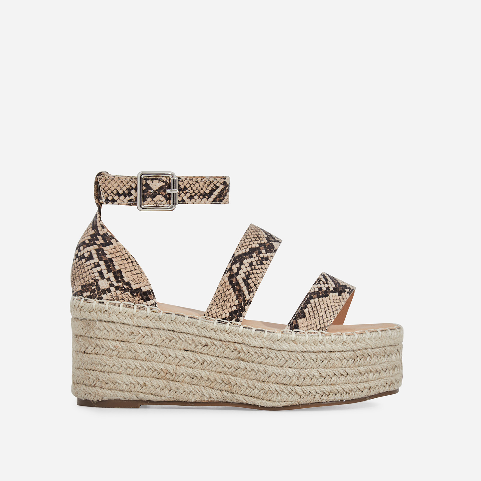 Hazy Espadrille Flatform In Nude Snake Print Faux Leather