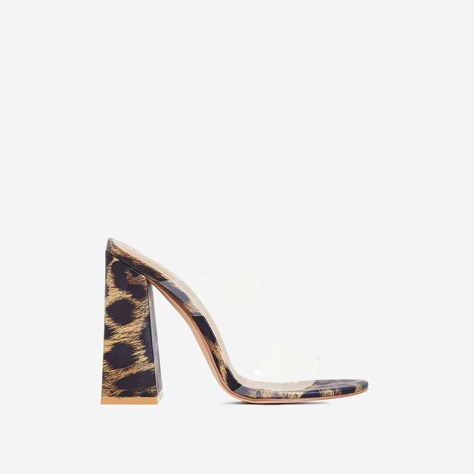 Hester Flared Block Heel Perspex Mule In Tan Leopard Print Faux Leather