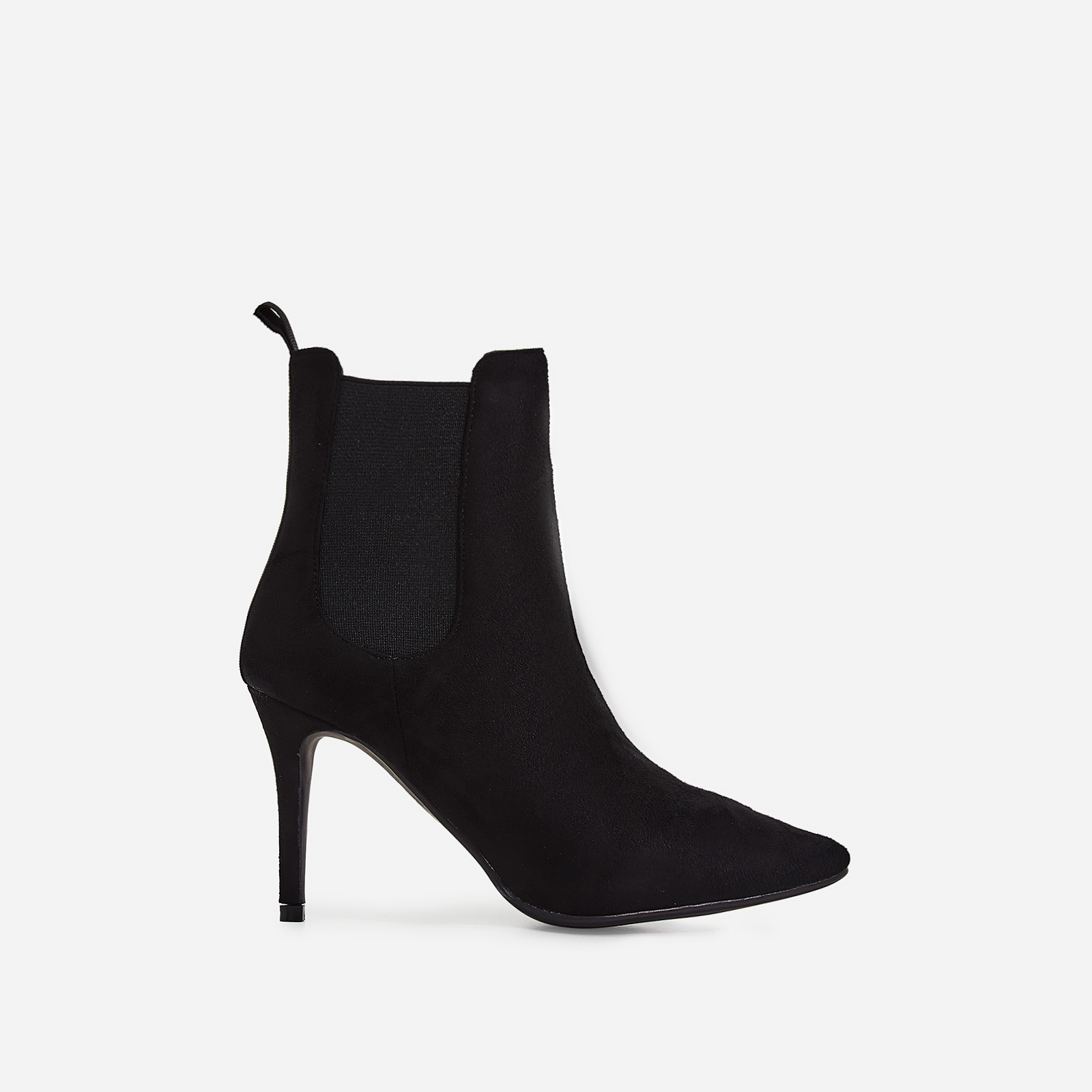Hettie Elasticated Ankle Boot In Black Faux Suede
