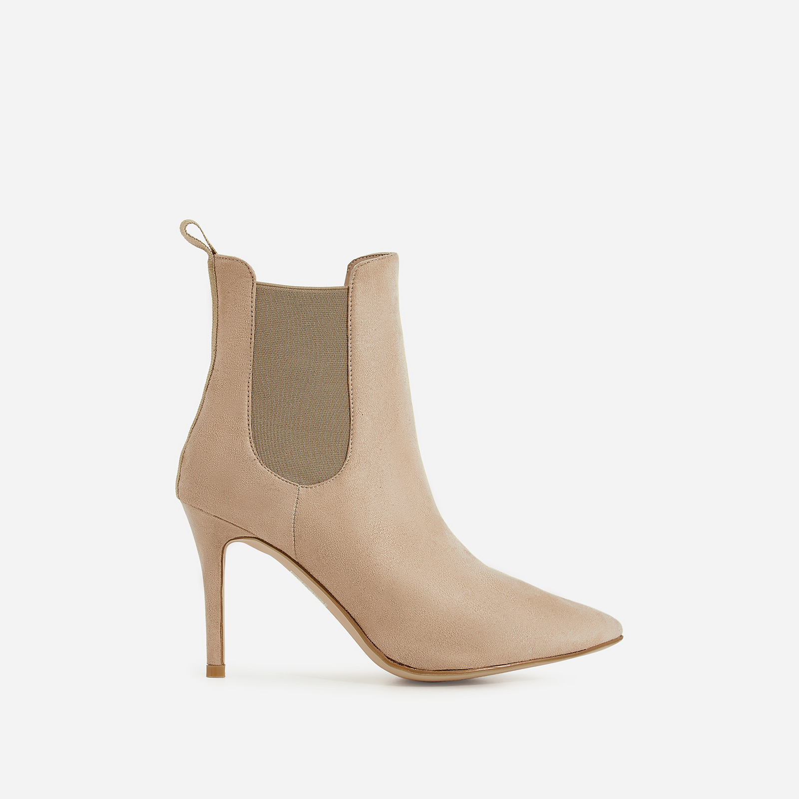 Hettie Elasticated Ankle Boot In Nude Faux Suede