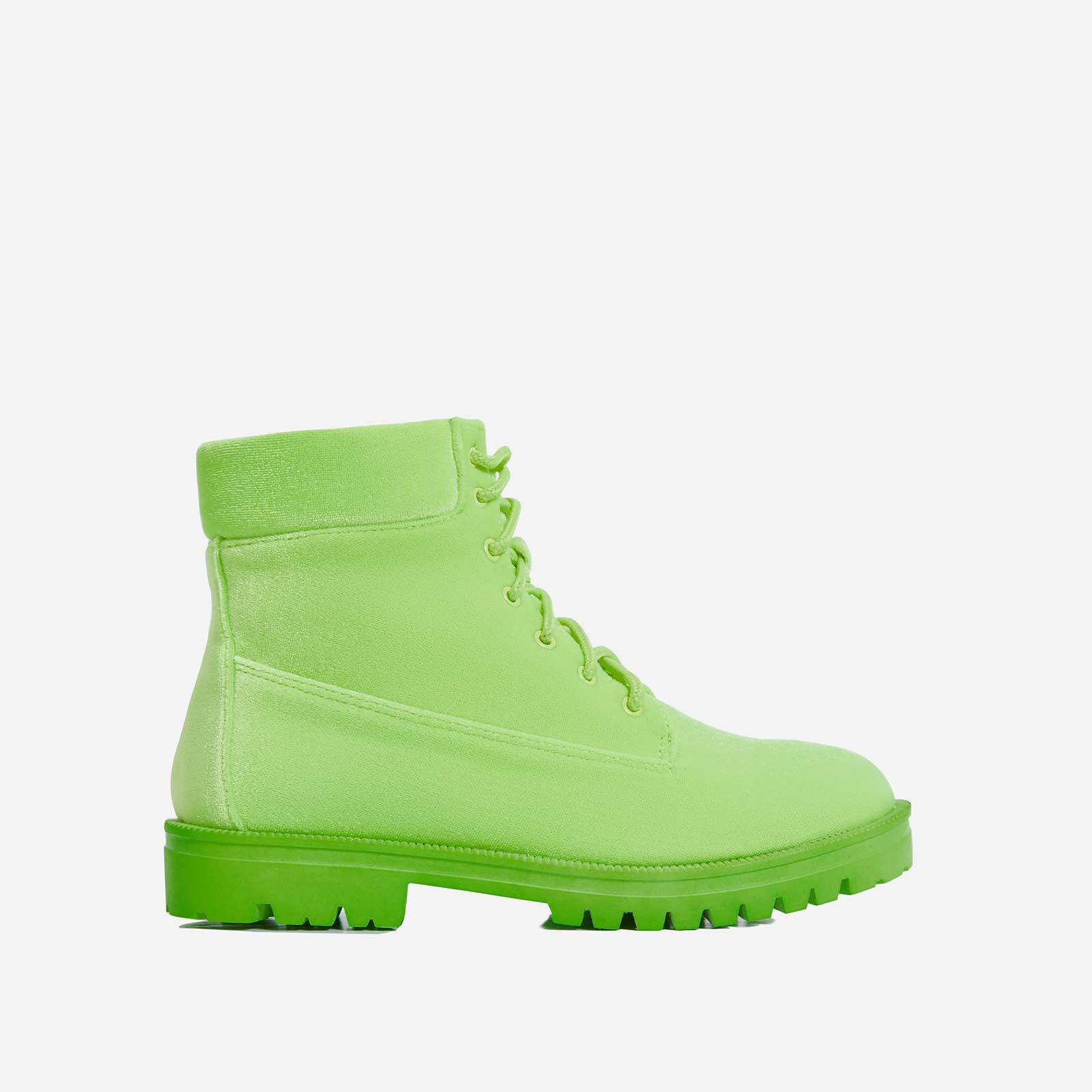 Highlighter Lace Up Ankle Boot In Green Faux Suede