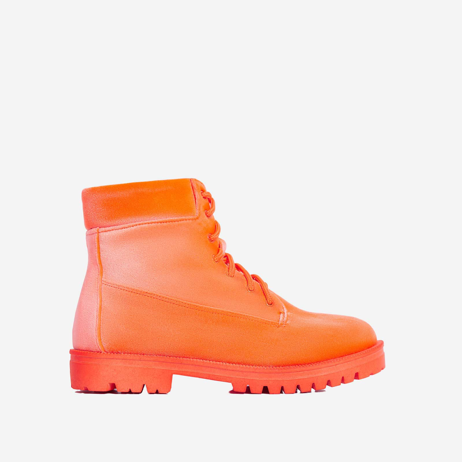 Highlighter Lace Up Ankle Boot In Orange Faux Suede
