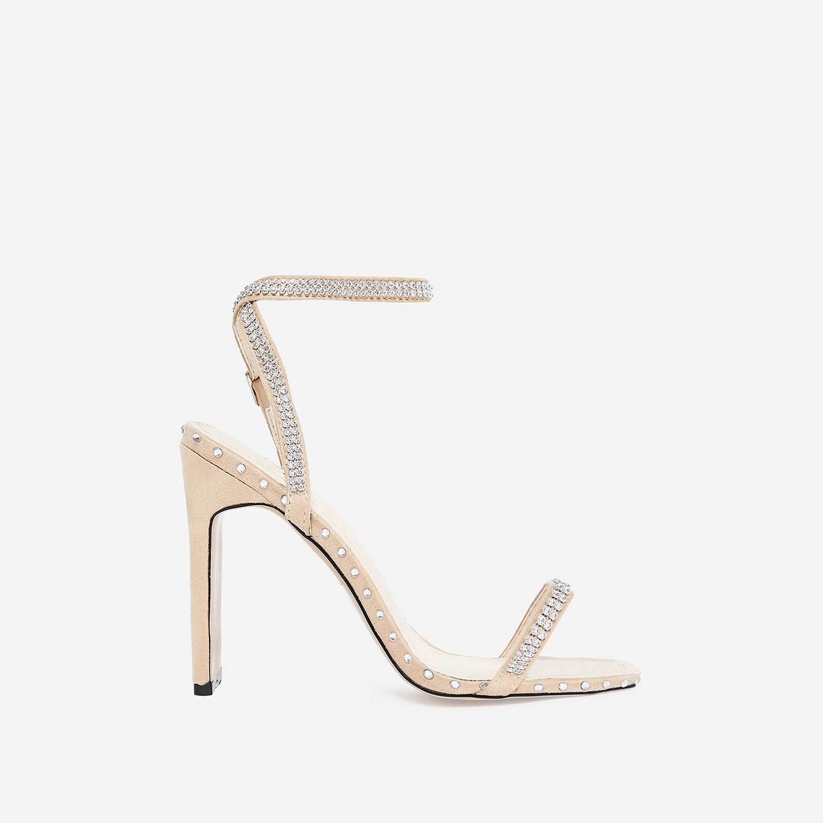 Hollywood Diamante Detail Flat Heel In Nude Faux Suede