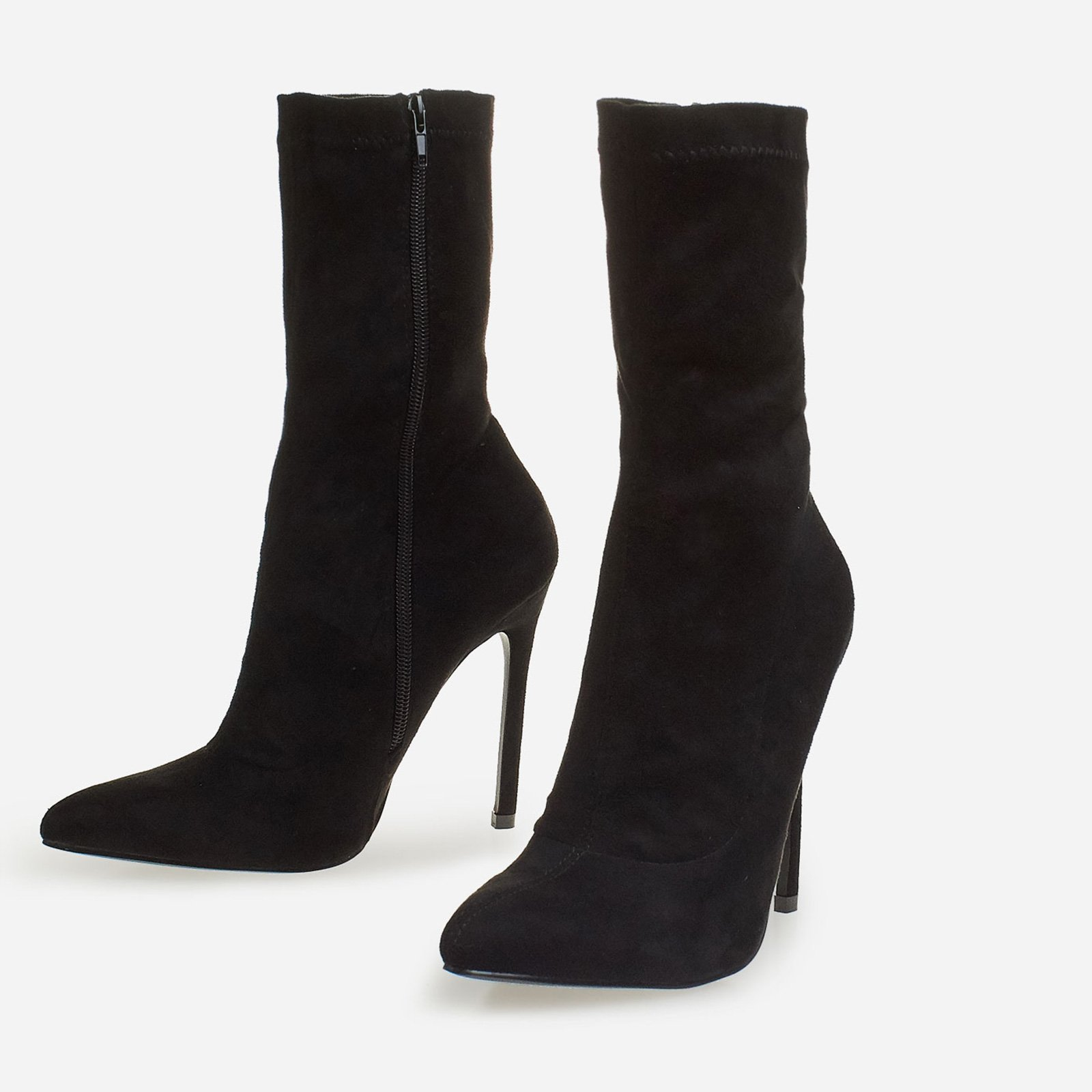 Ally Ankle Sock Boot In Black Suede