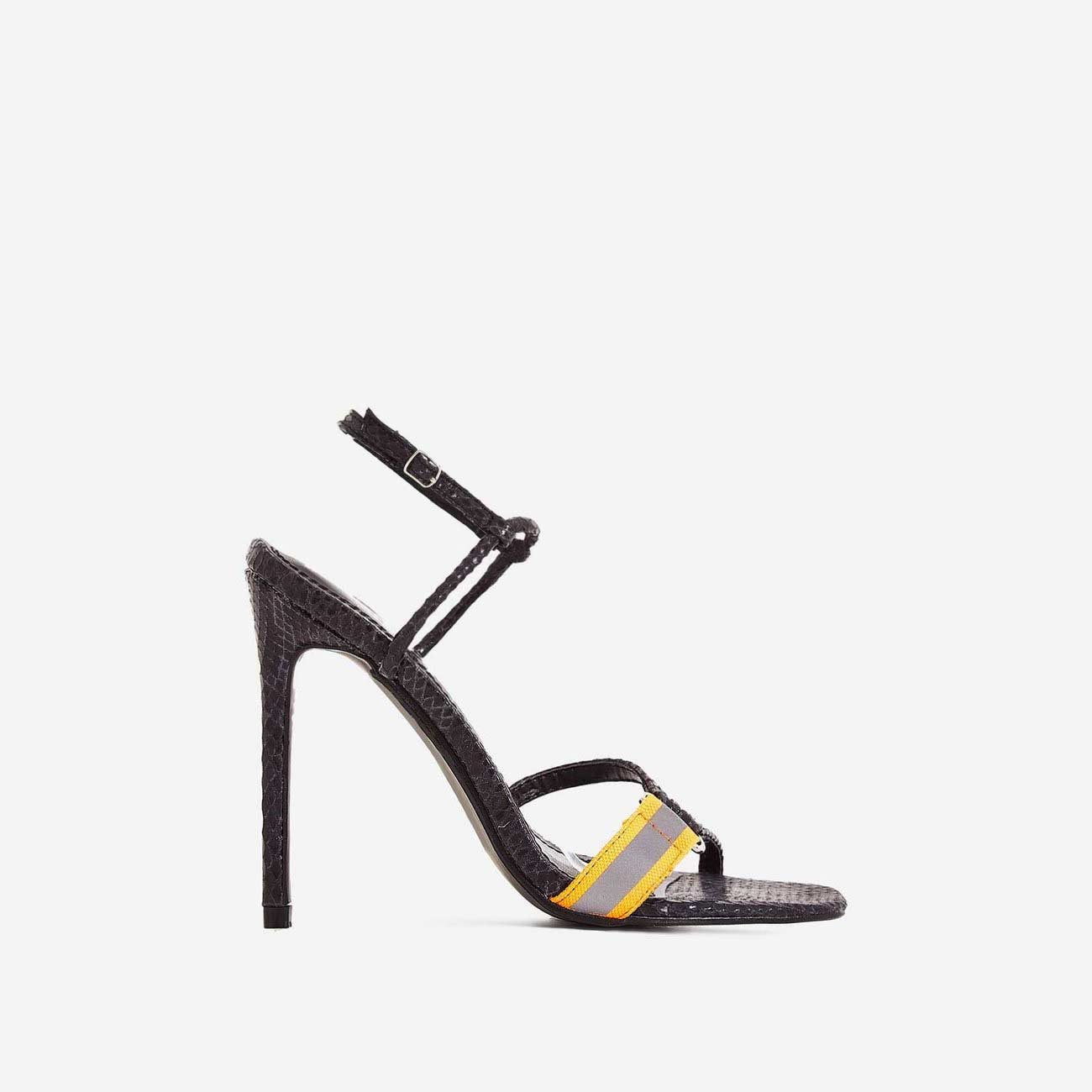 Tasmin Square Toe Barely There Heel In Black Snake Print Faux Leather