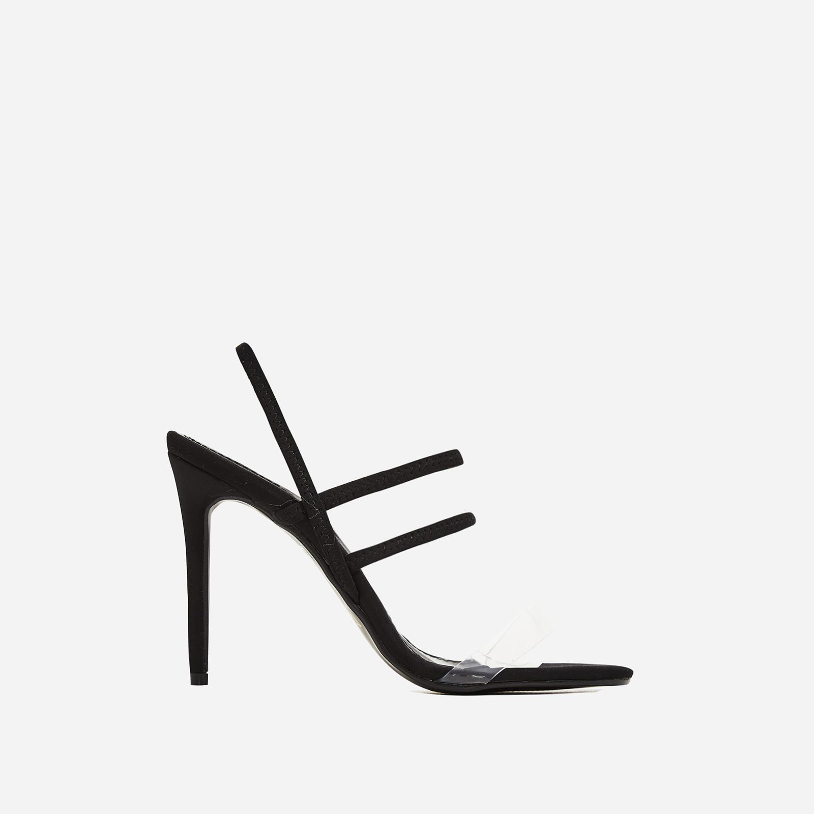 Sachi Perspex Detail Heel In Black Lycra