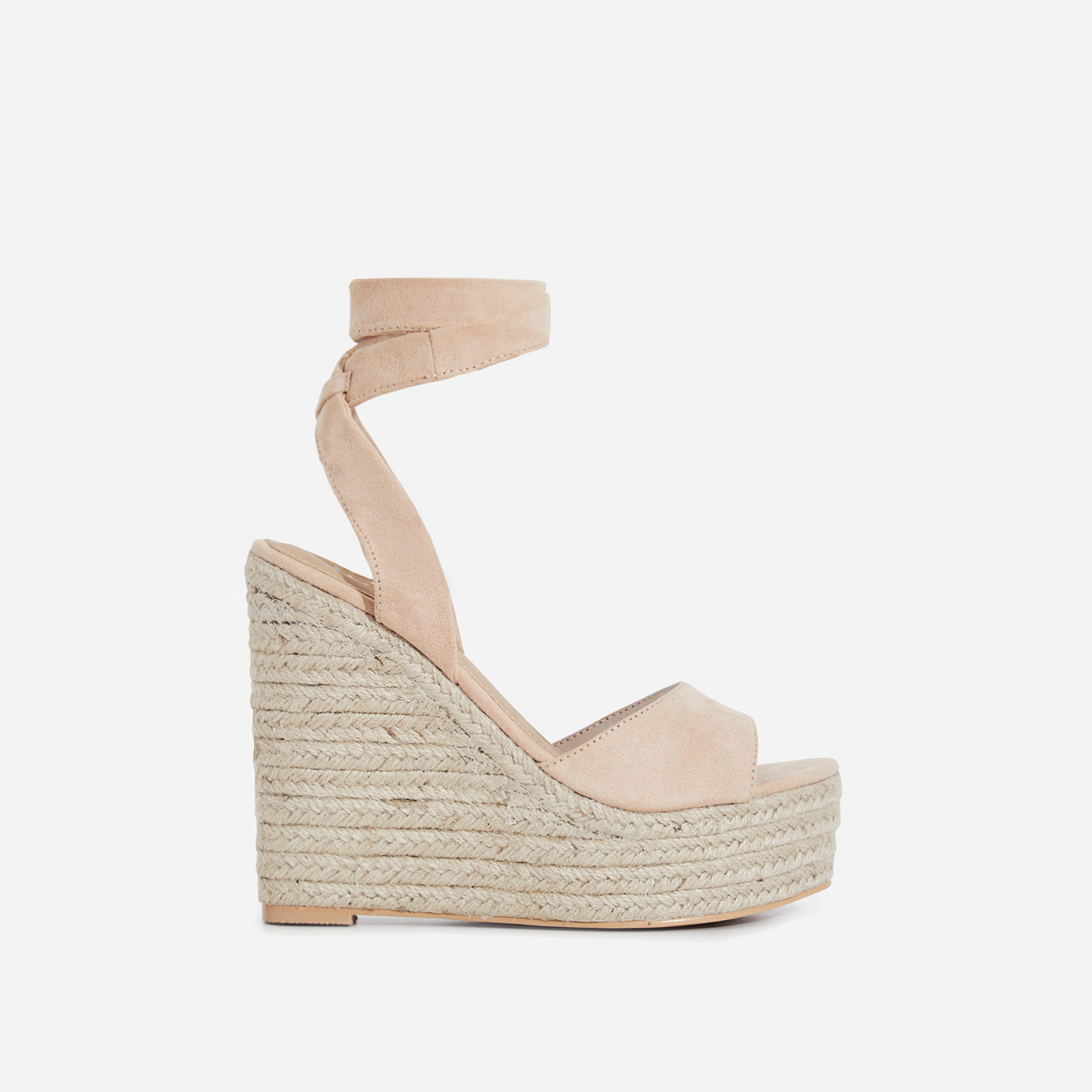 Hugo Lace Up Espadrille Wedge Platform Heel In Nude Faux Suede