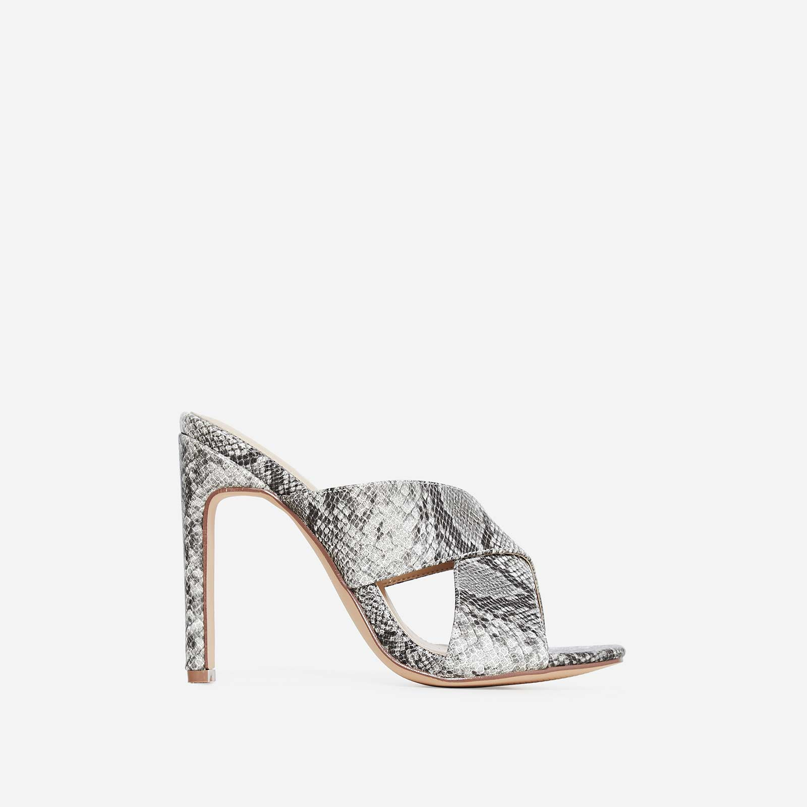 Hypnotic Cross Over Mule In Grey Snake Print Faux Leather