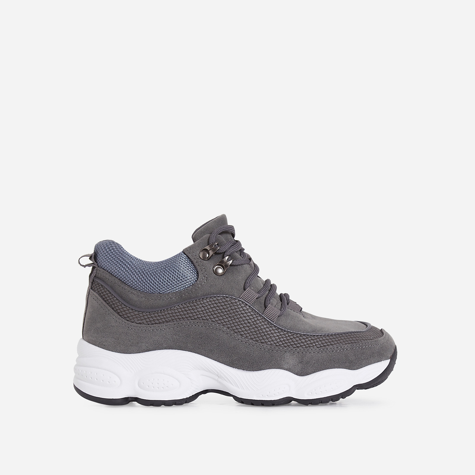 Ayana Chunky Sole Trainer In Grey Faux Suede