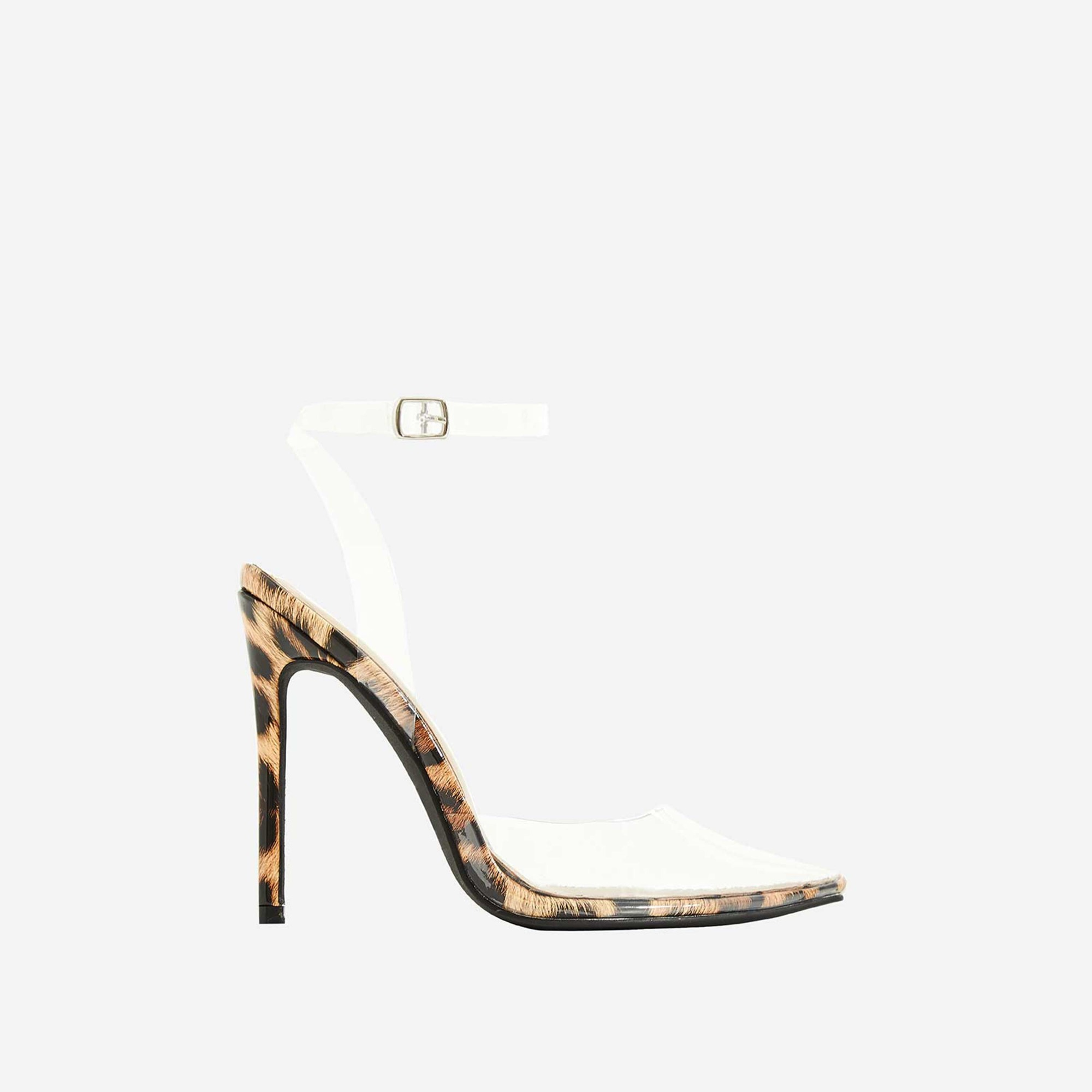 Icon Perspex Barely There Heel In Tan Leopard Print Patent