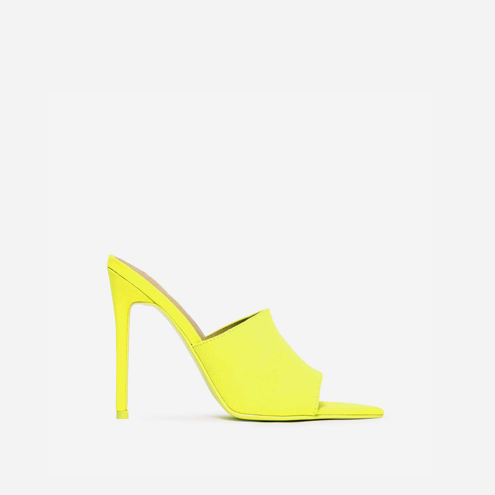 Cece Pointed Peep Toe Mule In Lime Green Faux Suede
